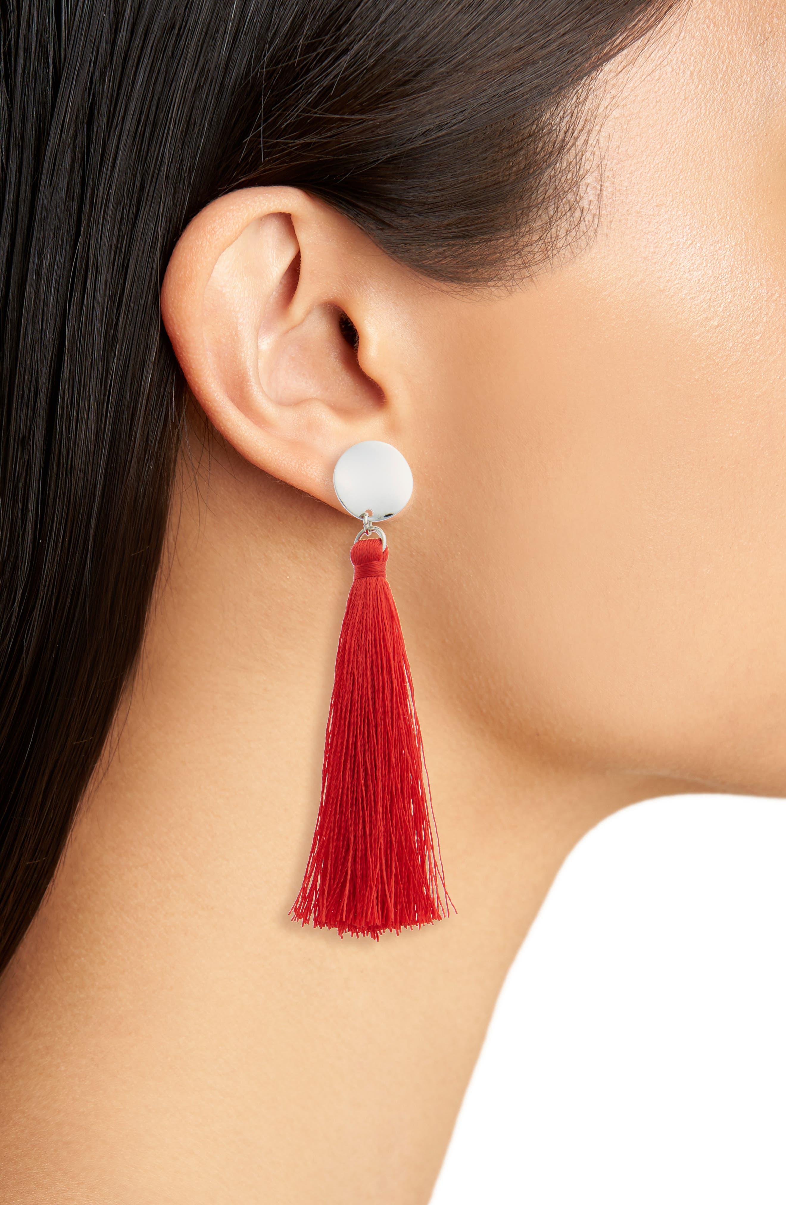 Stud Tassel Drop Earrings,                             Alternate thumbnail 2, color,                             Red