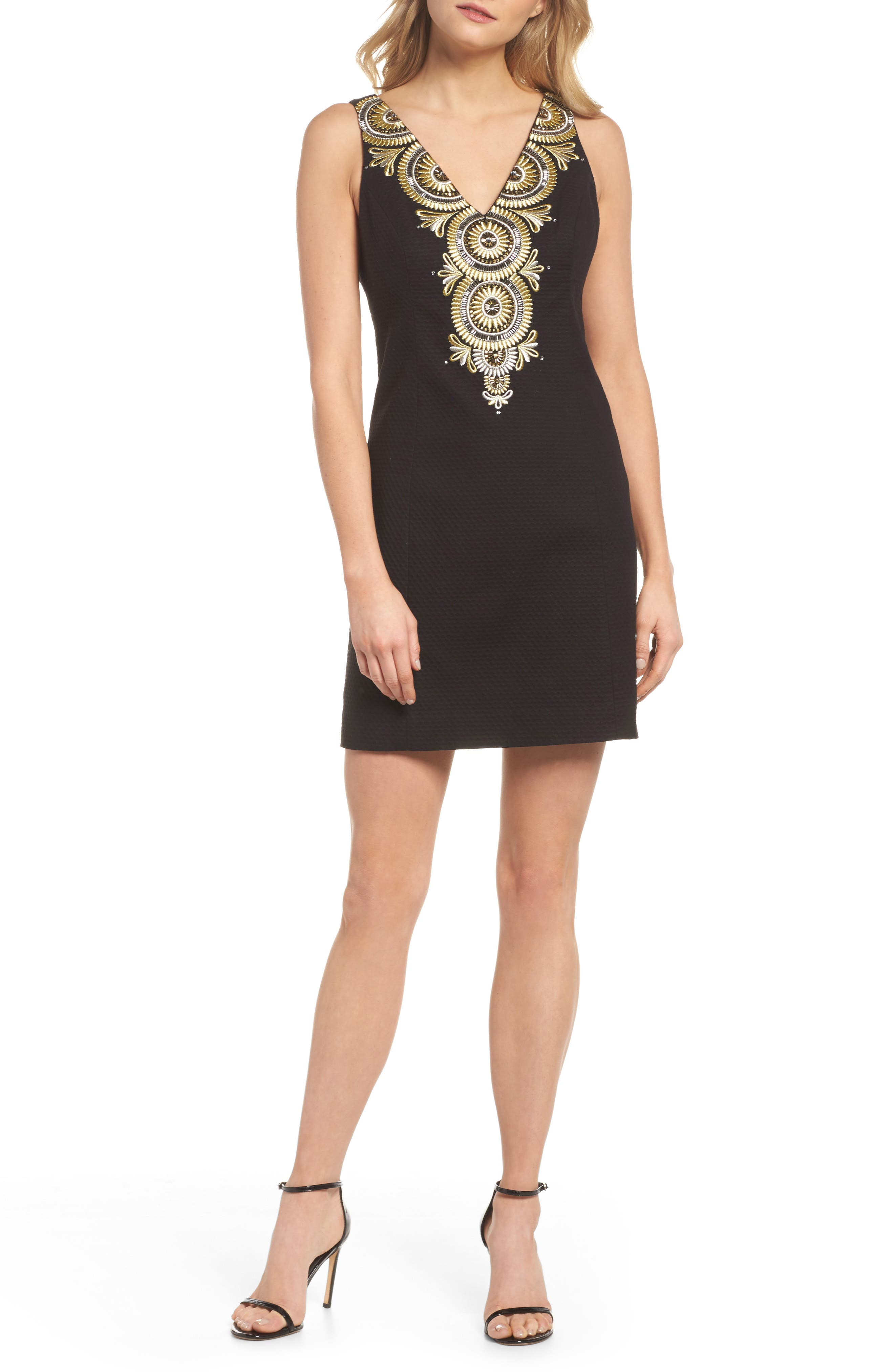 Gabby Sheath Dress,                             Main thumbnail 1, color,                             Onyx