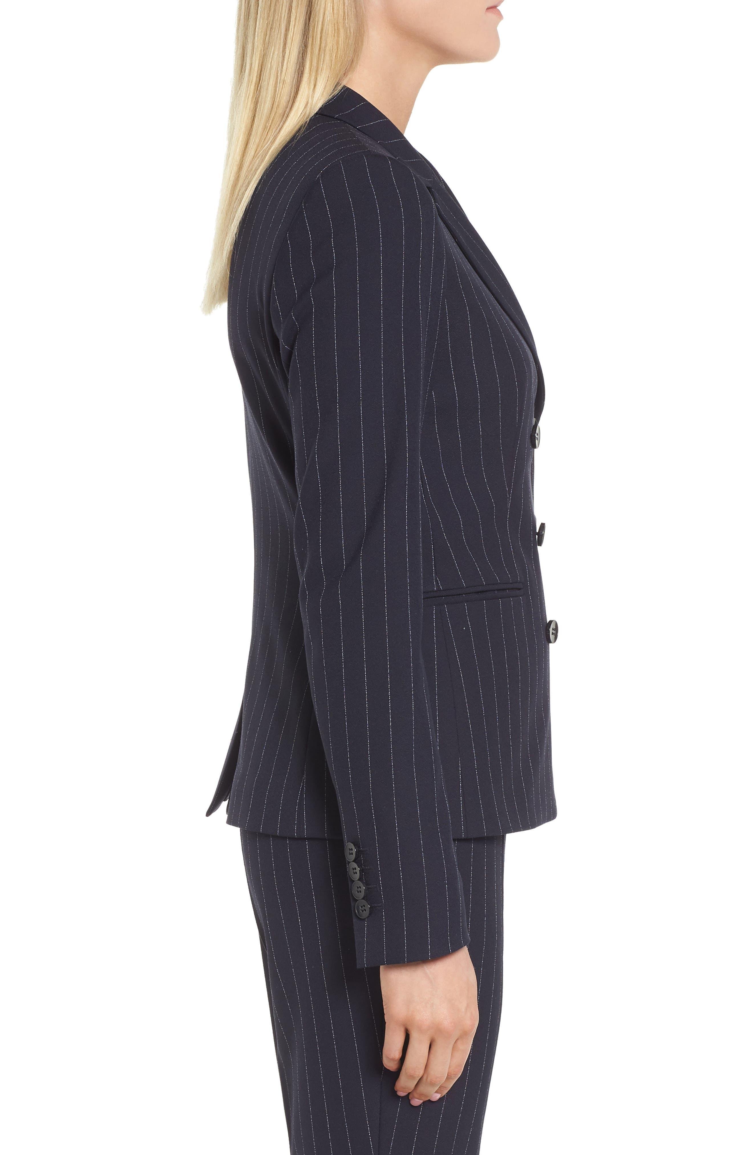Jelaya Double Breasted Suit Jacket,                             Alternate thumbnail 3, color,                             Navy Fantasy