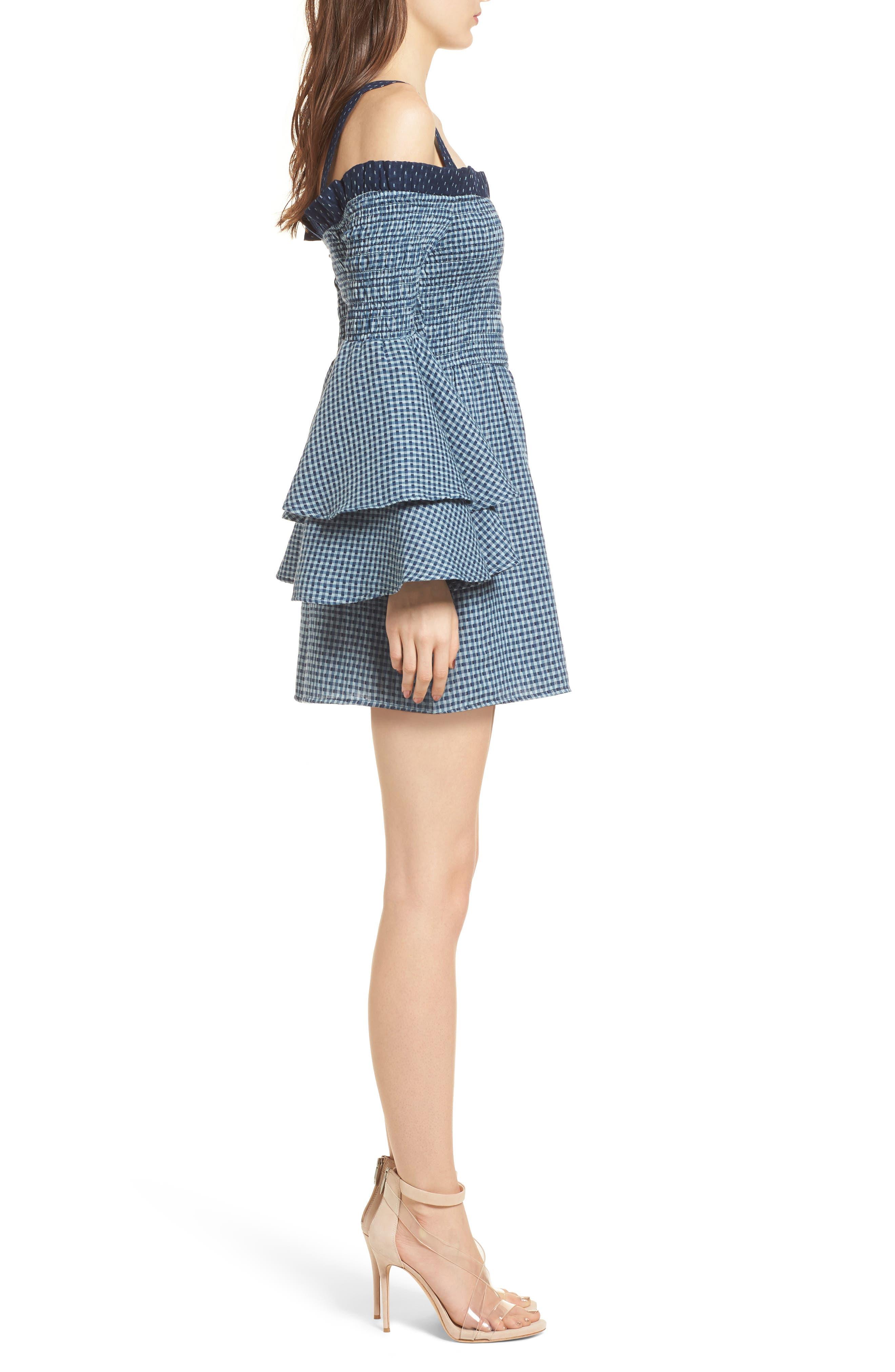 Nicki Cold Shoulder Minidress,                             Alternate thumbnail 3, color,                             Sea