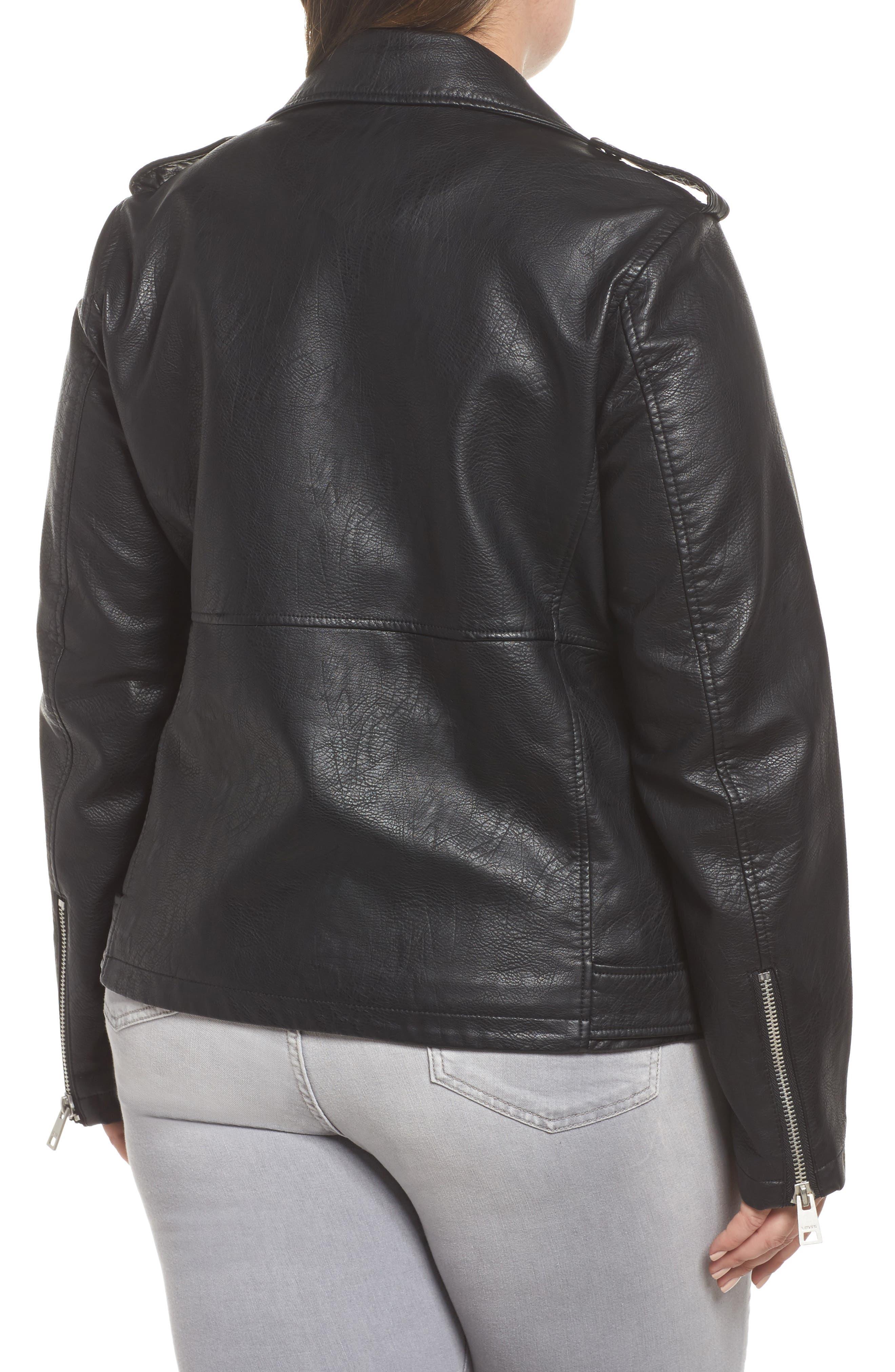 Oversize Faux Leather Moto Jacket,                             Alternate thumbnail 2, color,                             Black