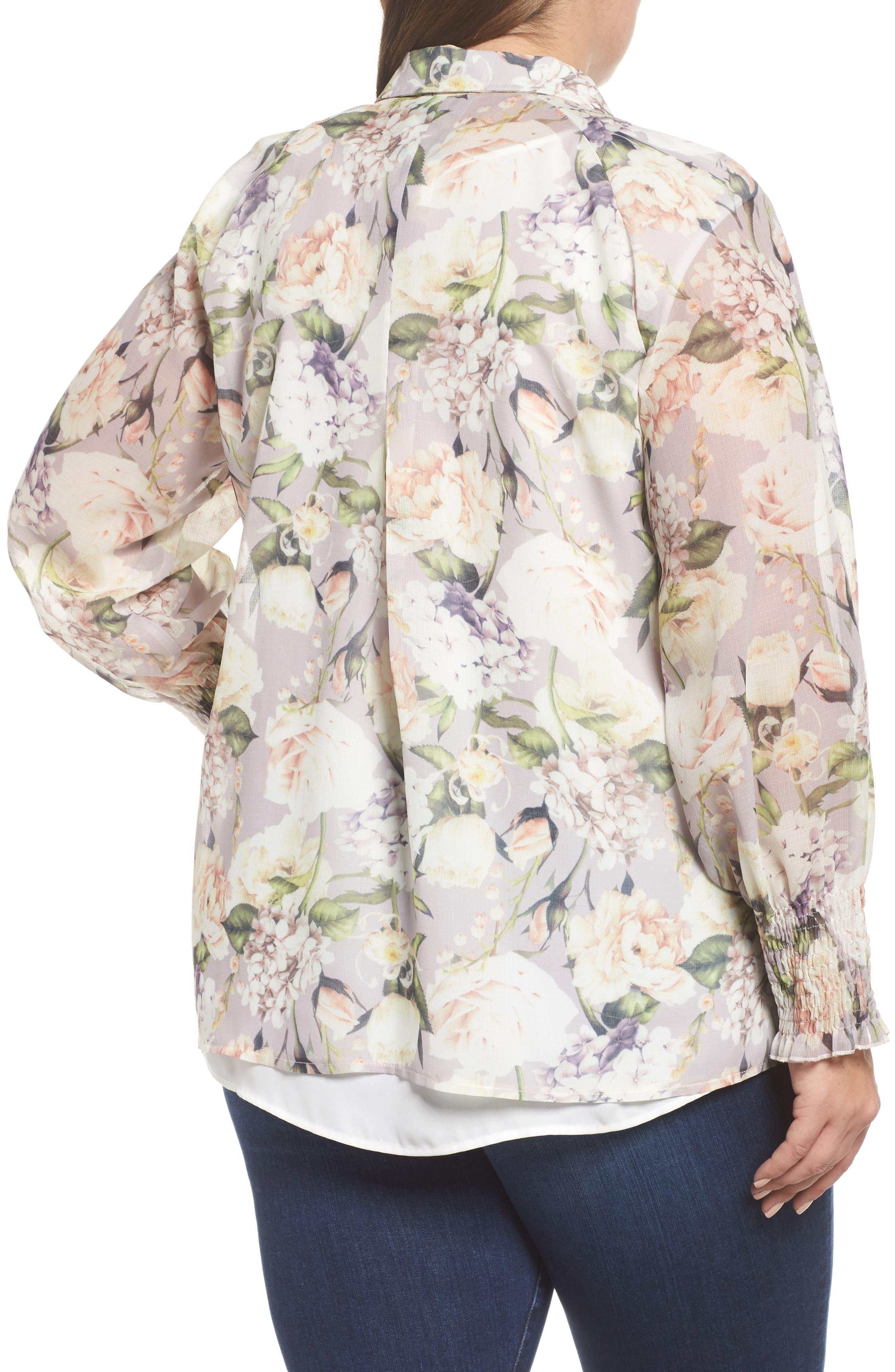 The Talinum Floral Zip Shirt,                             Alternate thumbnail 2, color,                             Purple