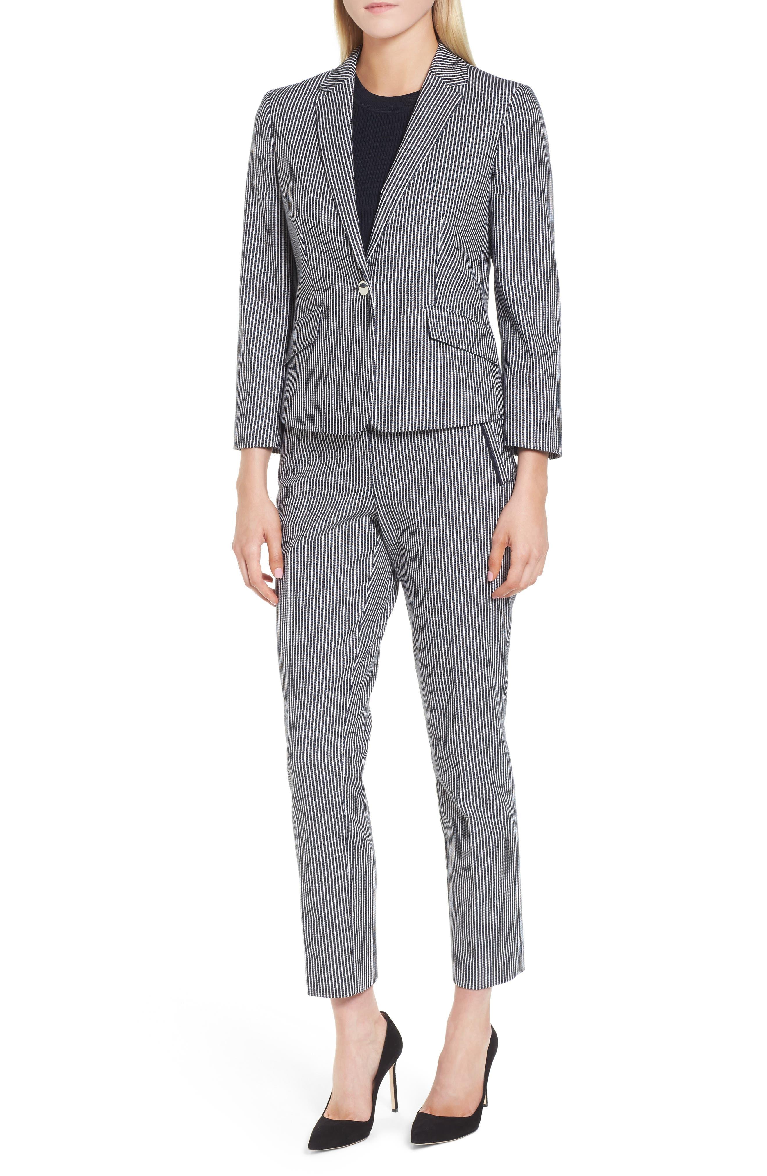 Katemika Stripe Stretch Cotton Suit Jacket,                             Alternate thumbnail 5, color,                             Navy Fantasy