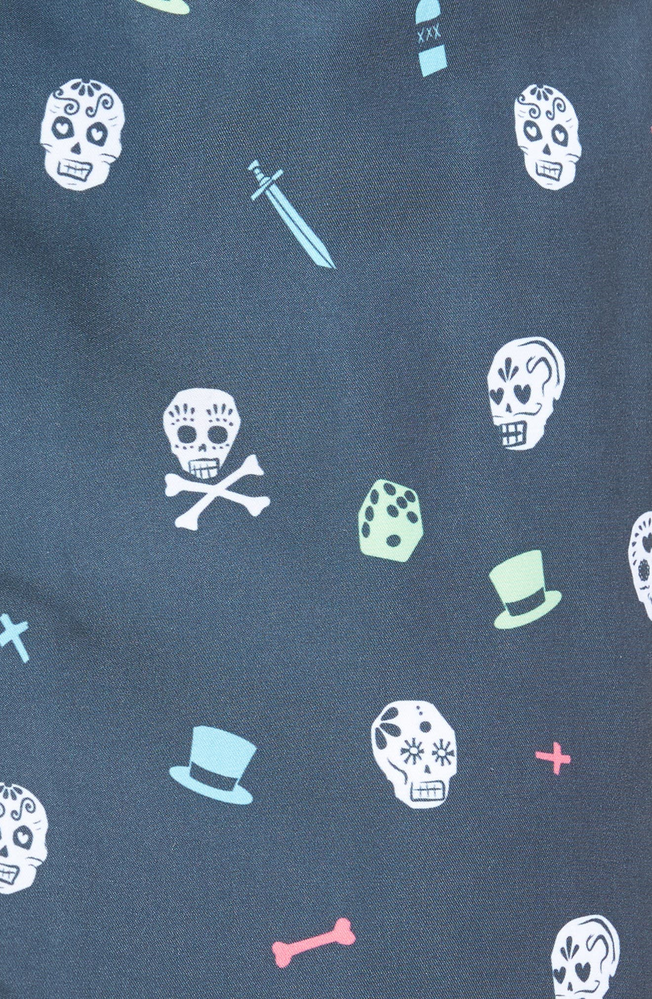 Day of the Dead Print Swim Shorts,                             Alternate thumbnail 6, color,                             Charcoal
