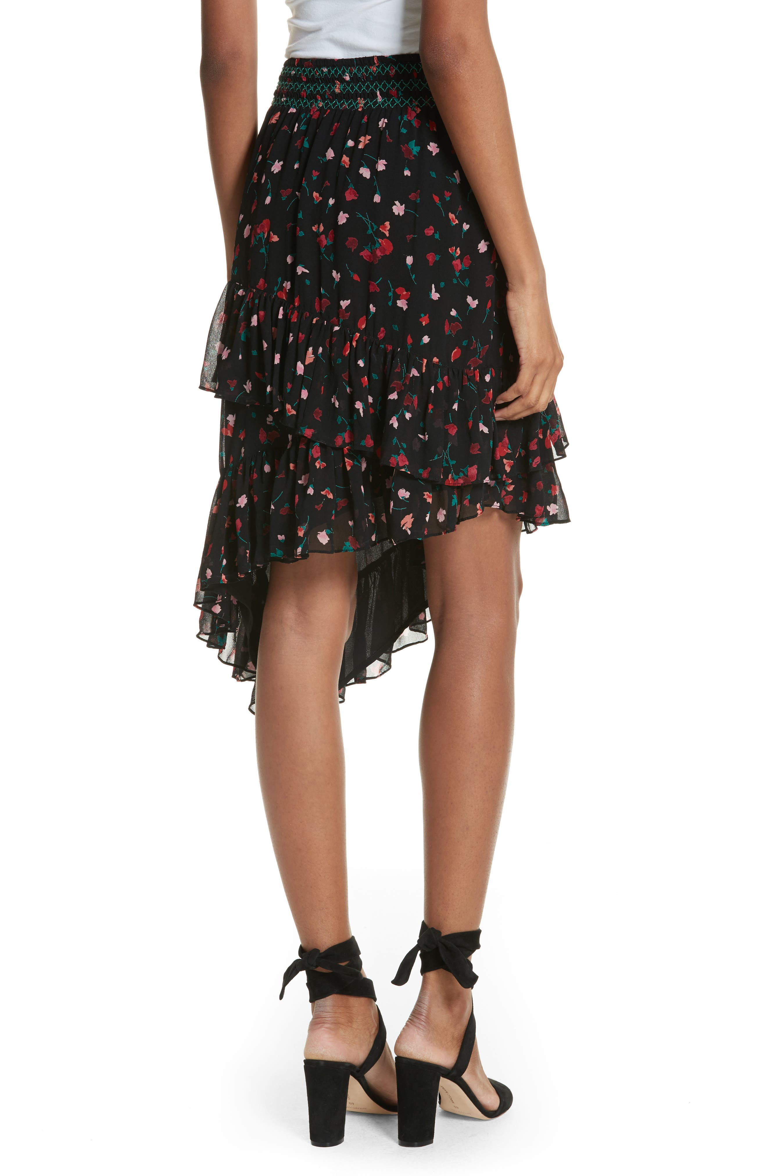 Gorowen Floral Silk Skirt,                             Alternate thumbnail 2, color,                             Caviar