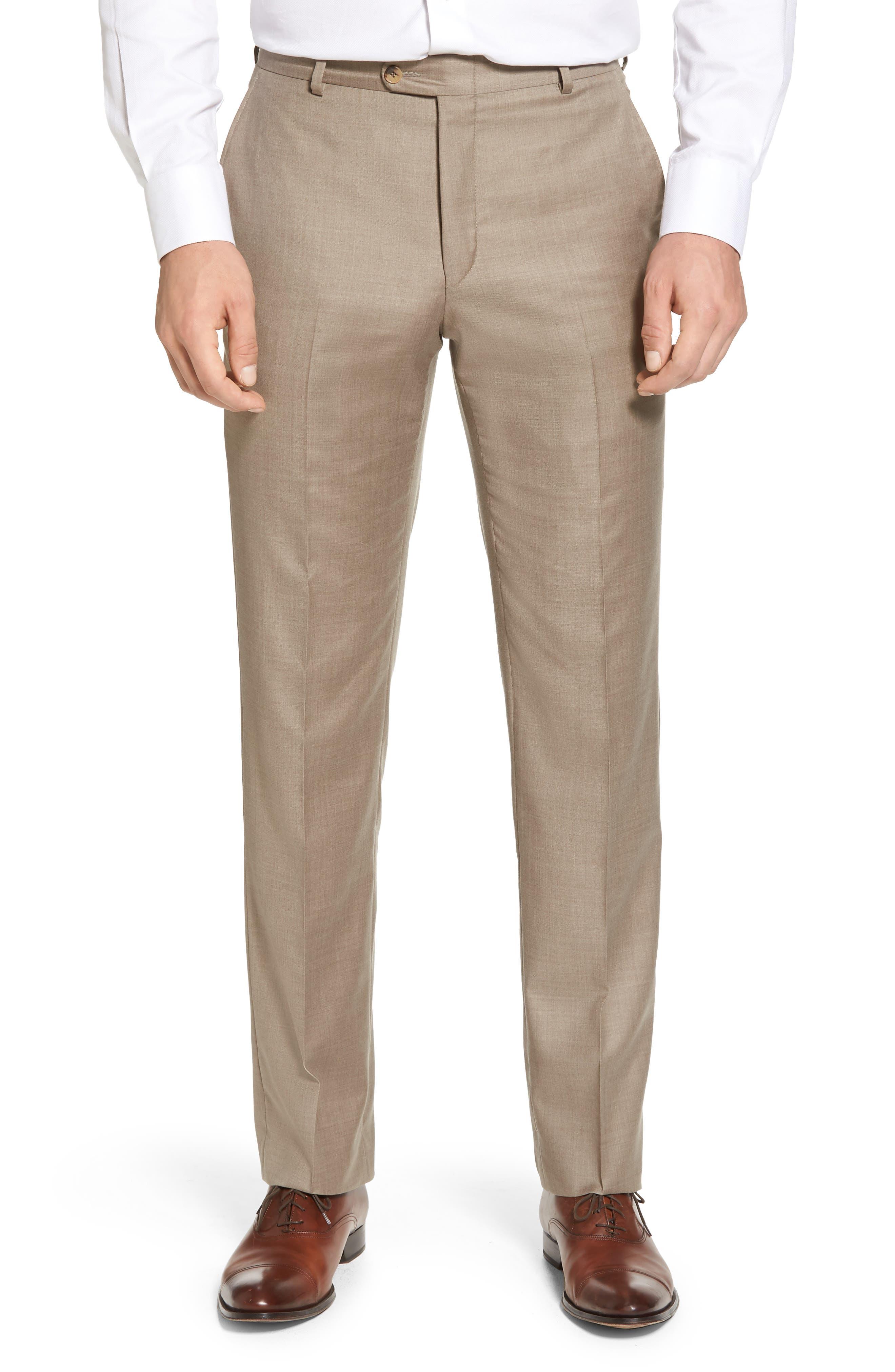Classic B Fit Solid Wool Suit,                             Alternate thumbnail 5, color,                             Medium Beige