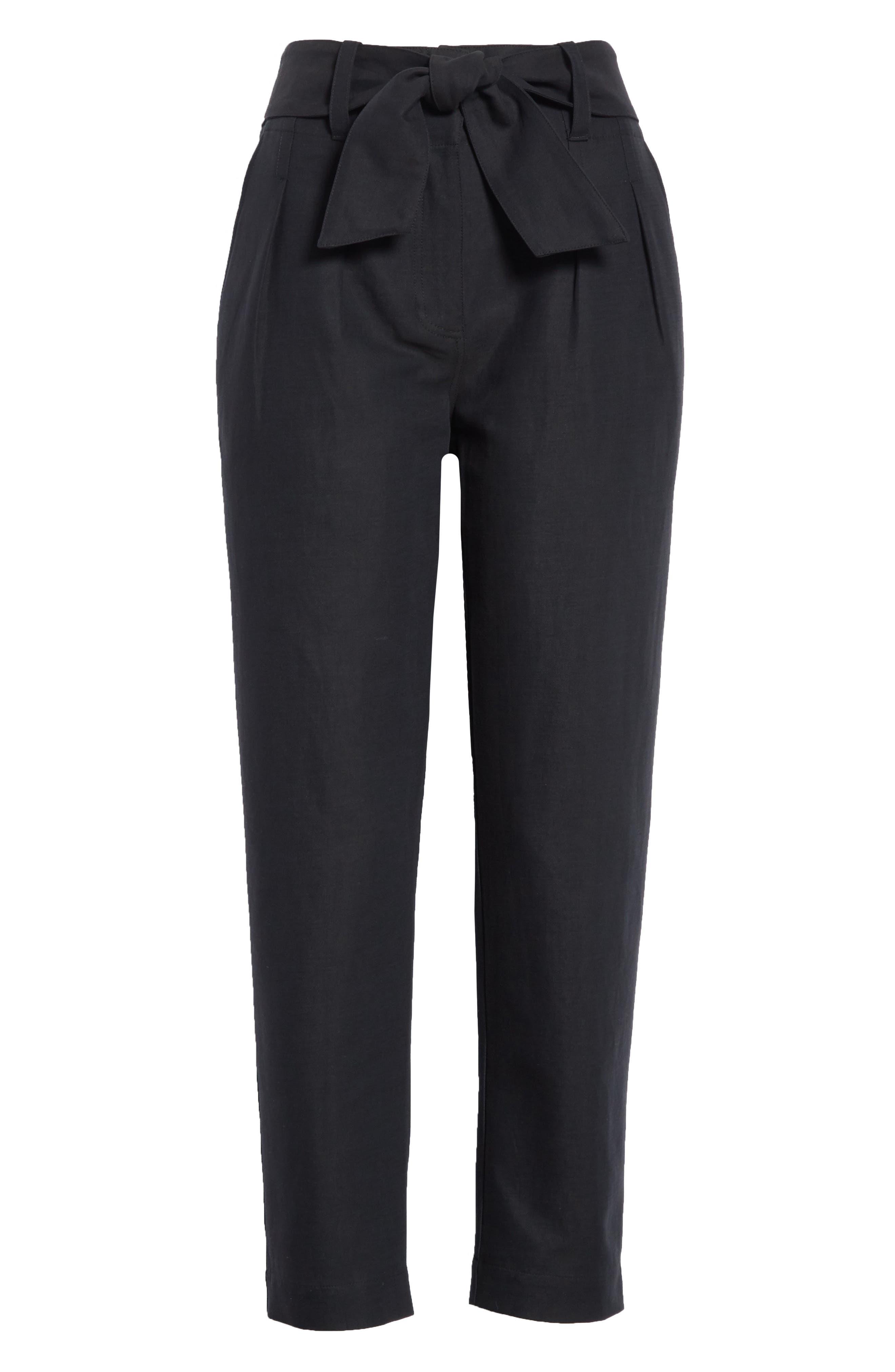 Jun Cotton & Linen Ankle Pants,                             Alternate thumbnail 6, color,                             Caviar