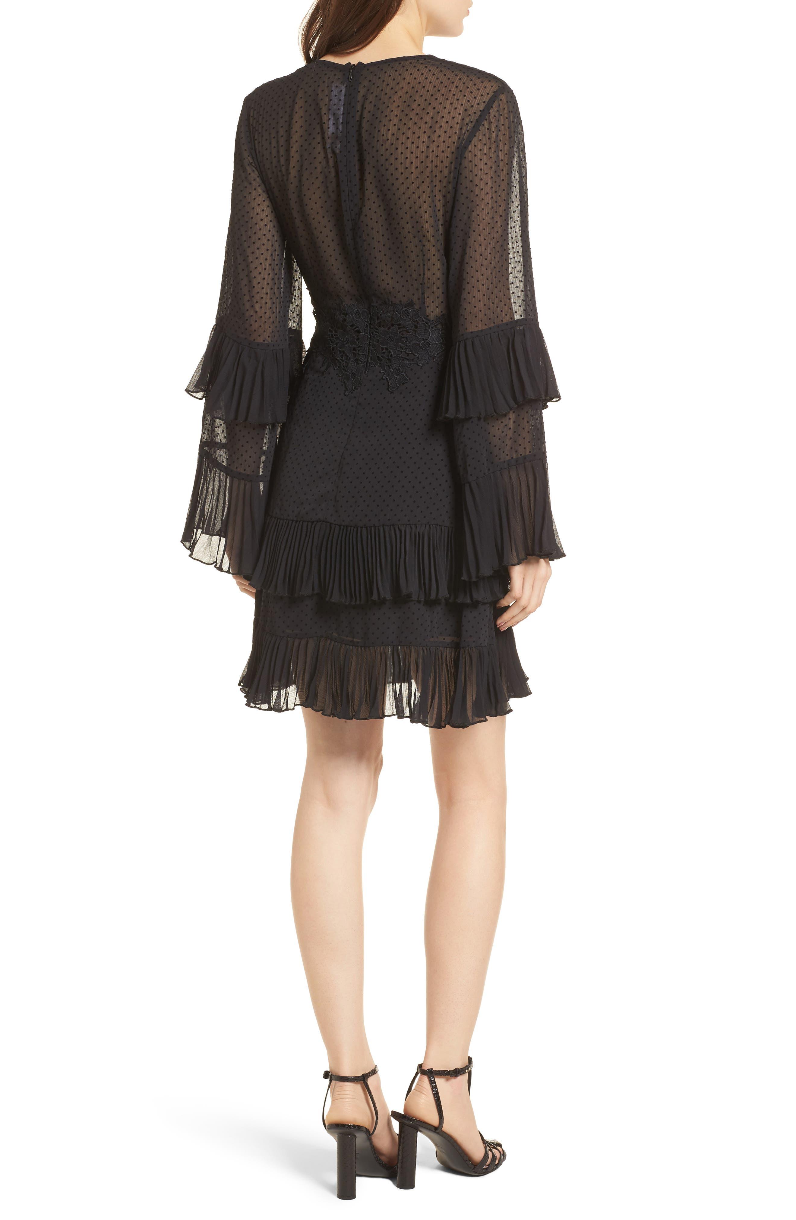 Horizons Bell Sleeve Minidress,                             Alternate thumbnail 3, color,                             Black