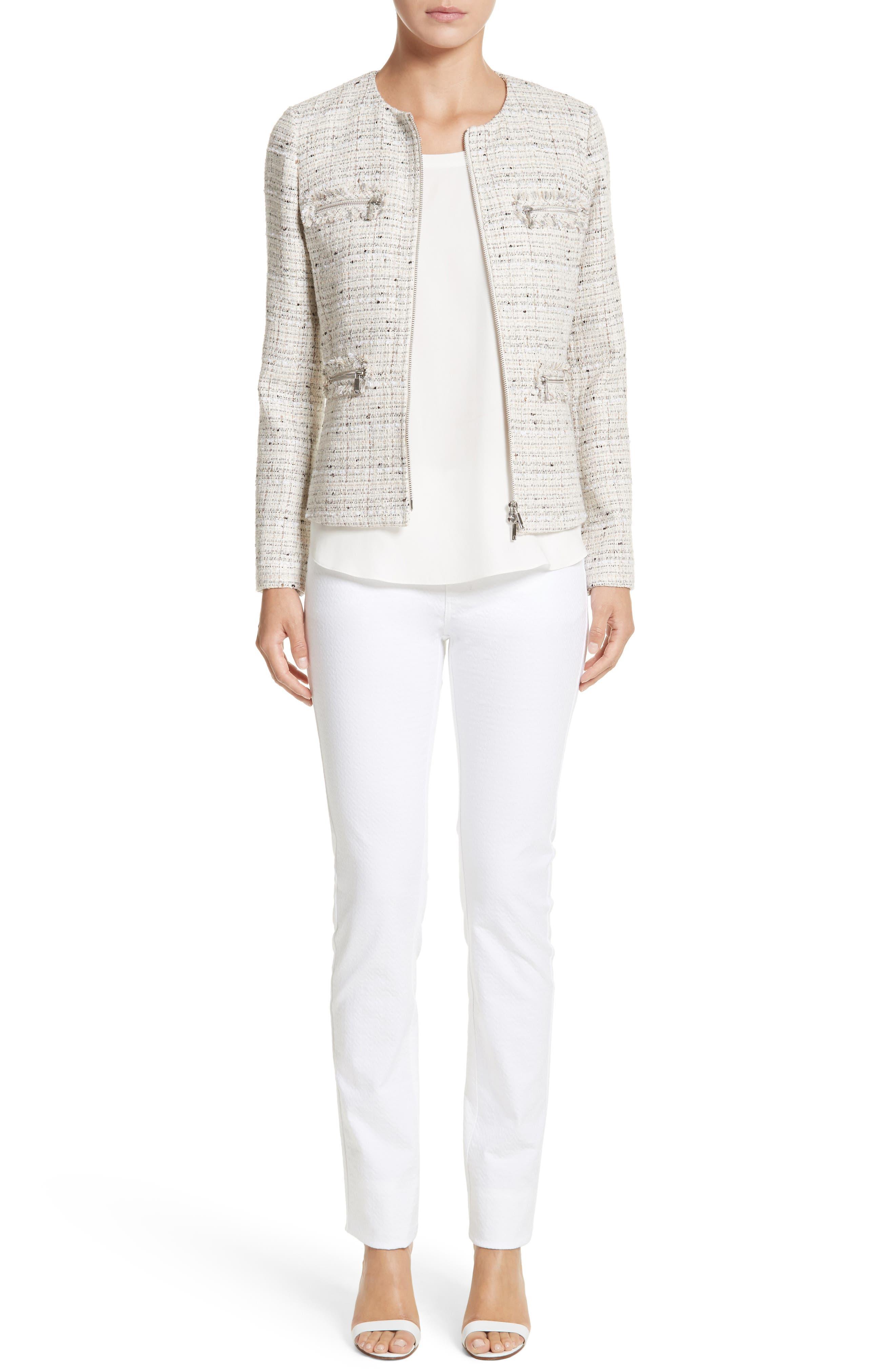 Emelyn Tweed Jacket,                             Alternate thumbnail 2, color,                             Raffia Multi