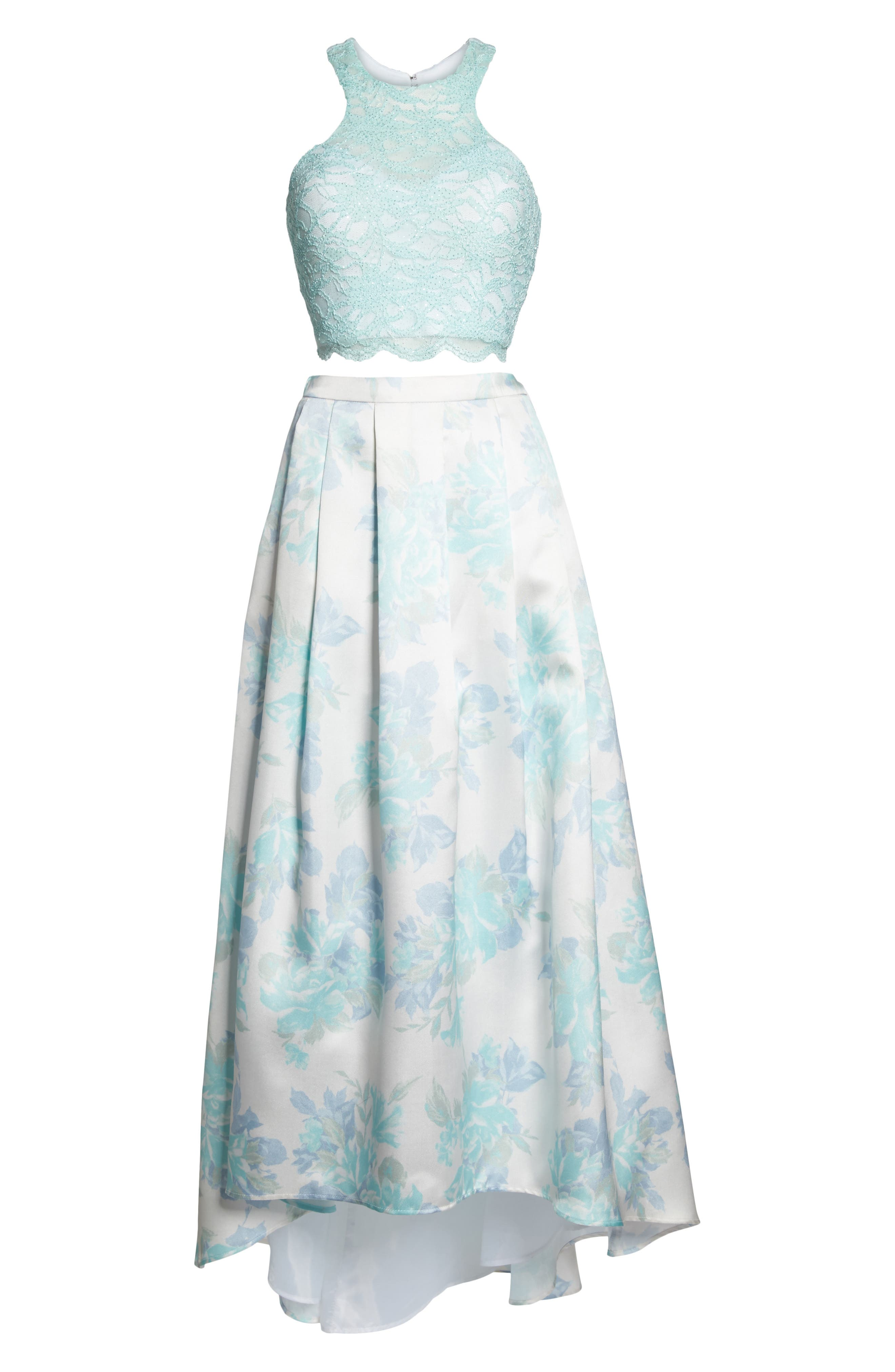Two-Piece Lace High/Low Dress,                             Alternate thumbnail 6, color,                             Mint / Ivory