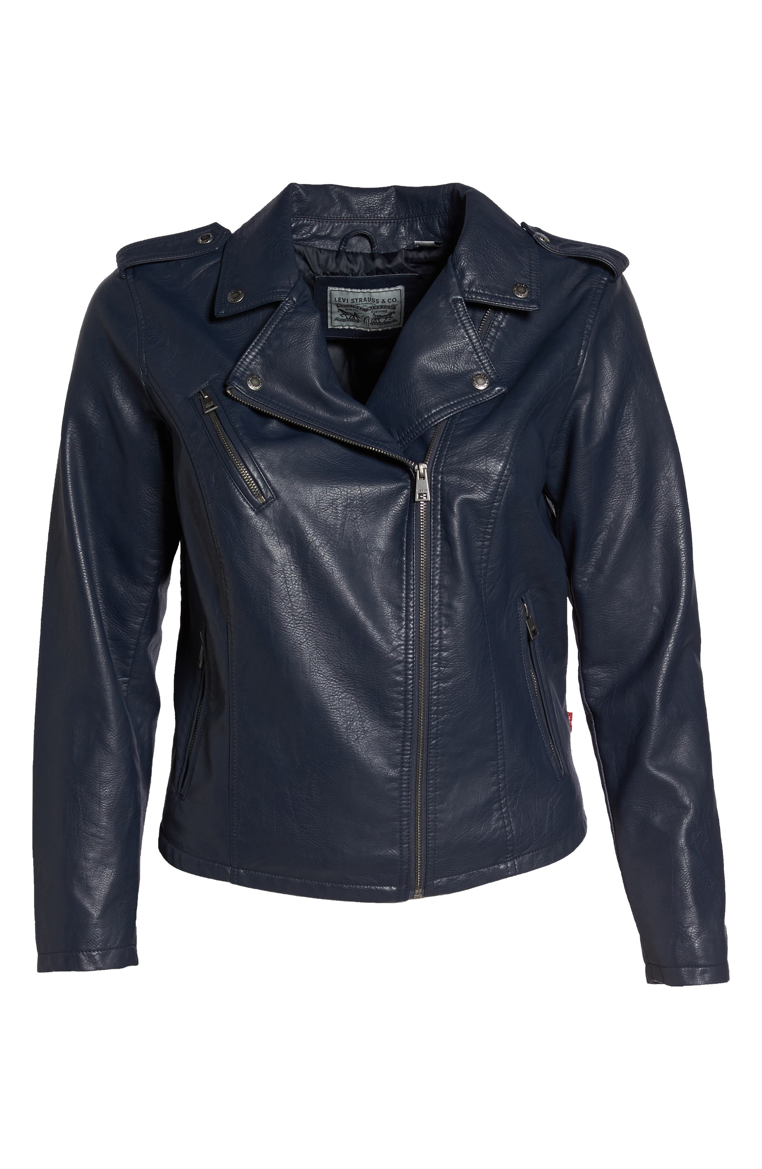 Faux Leather Jacket,                             Alternate thumbnail 6, color,                             Navy