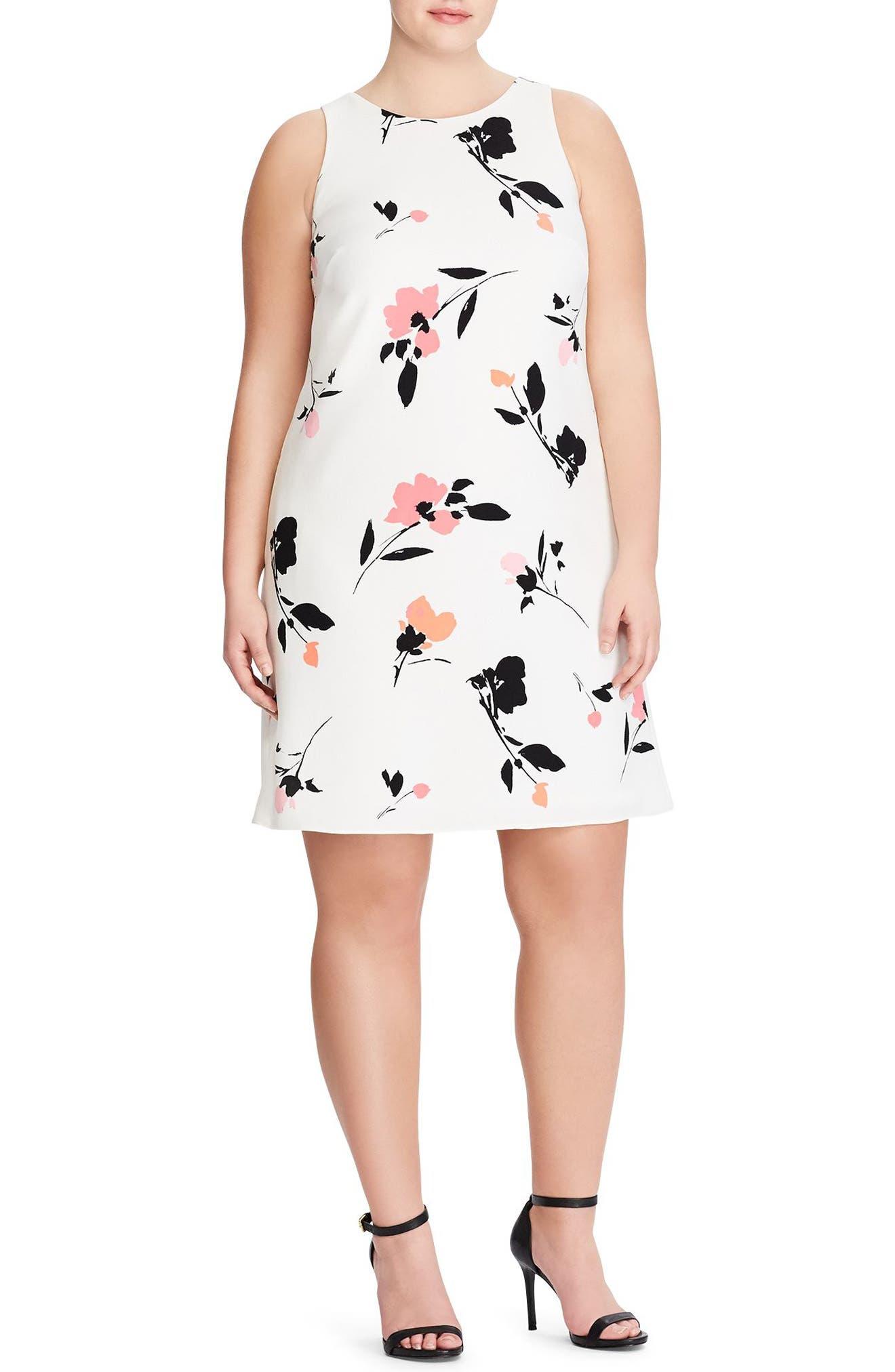 Paland Brunette Park Floral Shift Dress,                             Main thumbnail 1, color,                             Col. Cream-Peach-Multi
