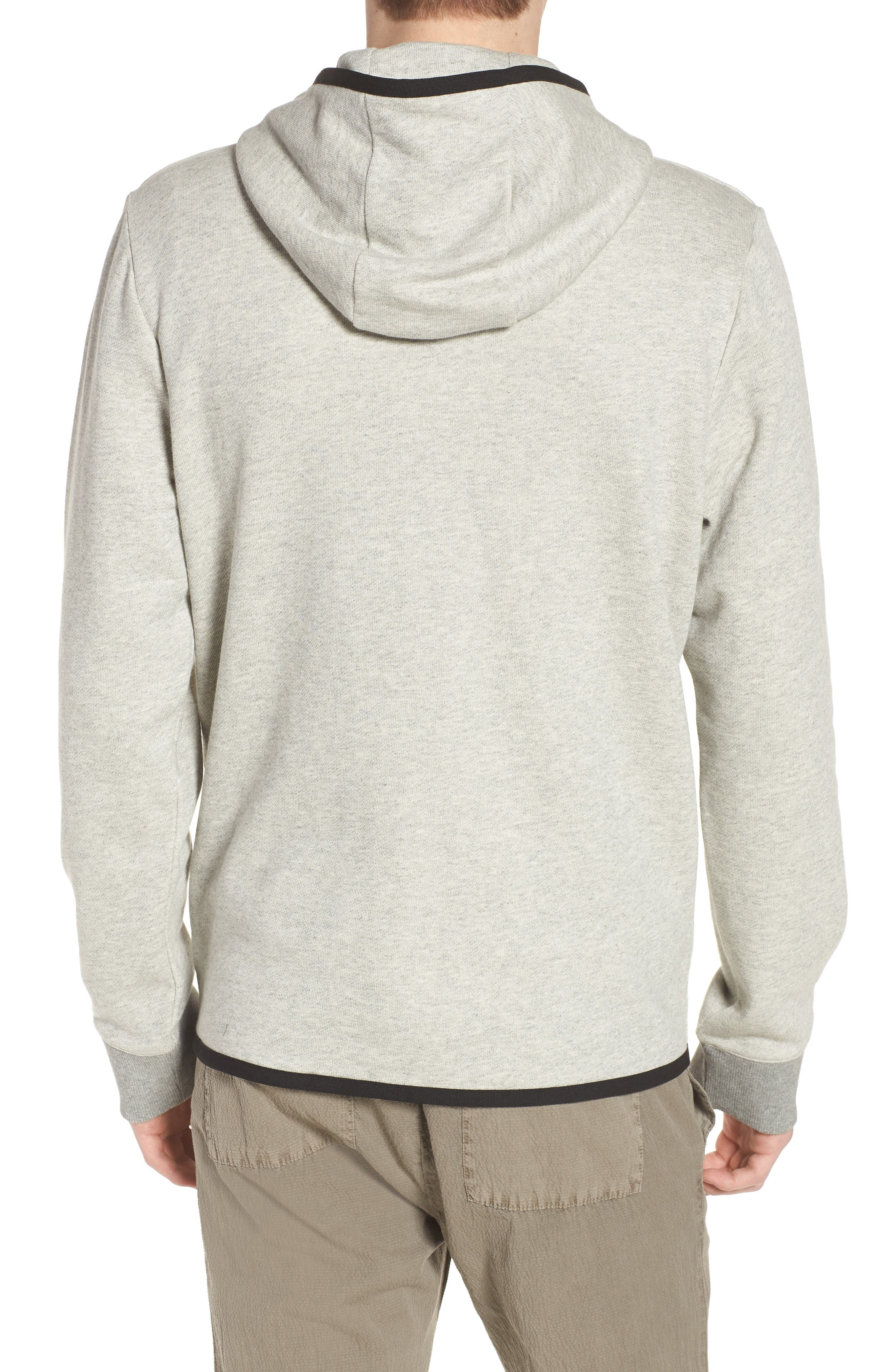 French Terry Zip Hoodie,                             Alternate thumbnail 2, color,                             Heather Grey/ Black