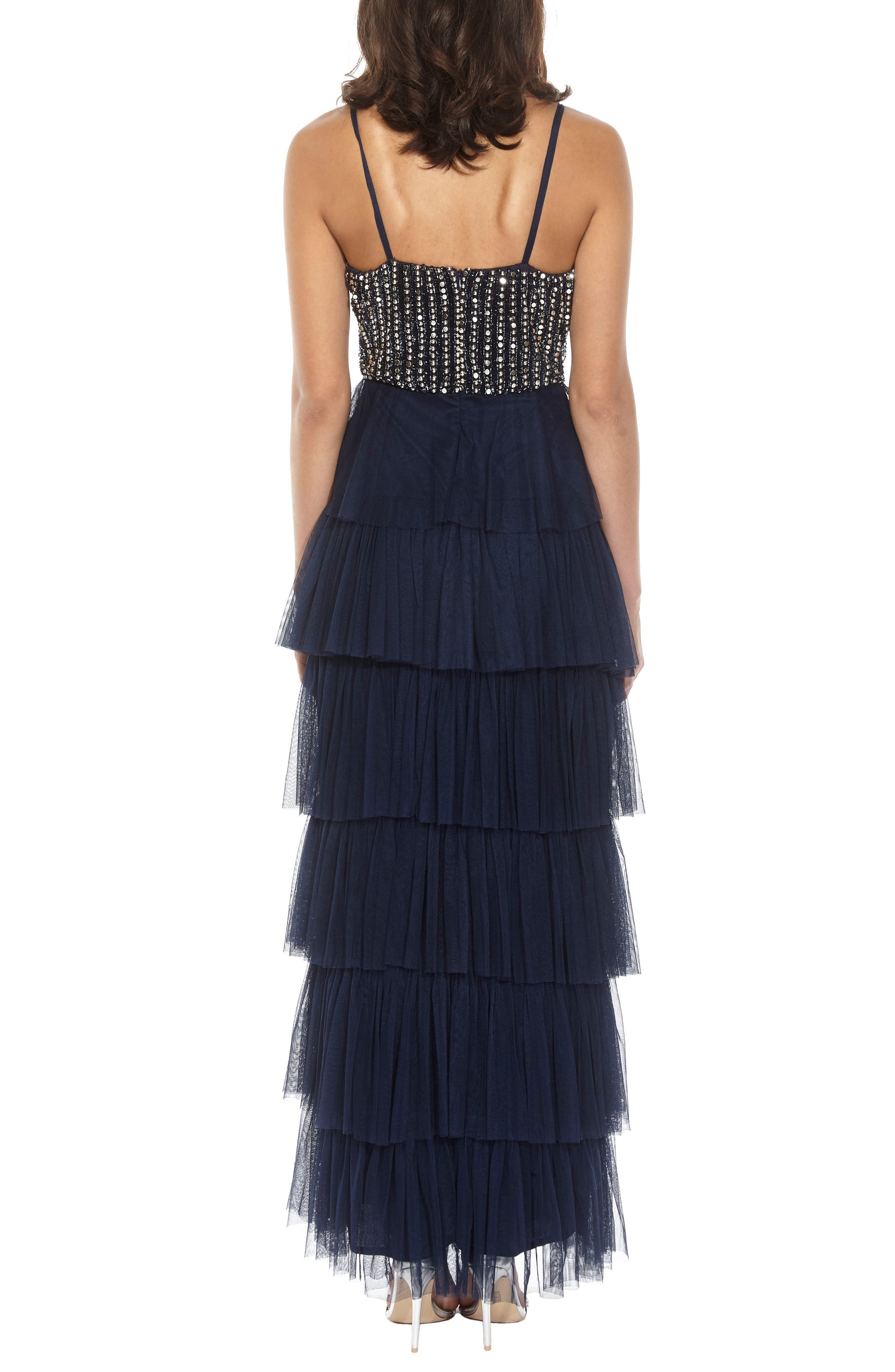 Tiered Skirt Gown,                             Alternate thumbnail 3, color,                             Navy