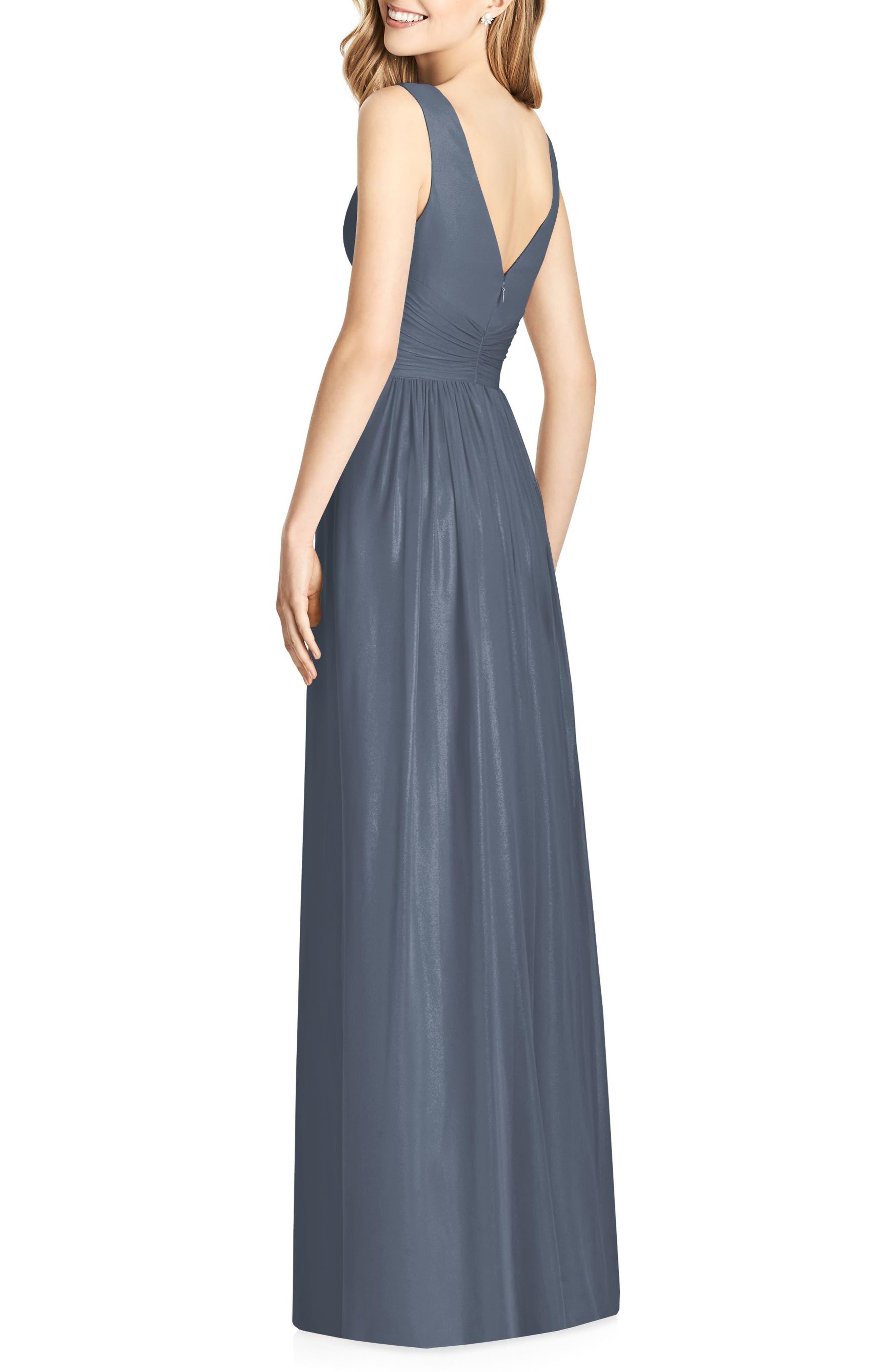 Sleeveless Sparkle Neck Chiffon Gown,                             Alternate thumbnail 2, color,                             Silverstone