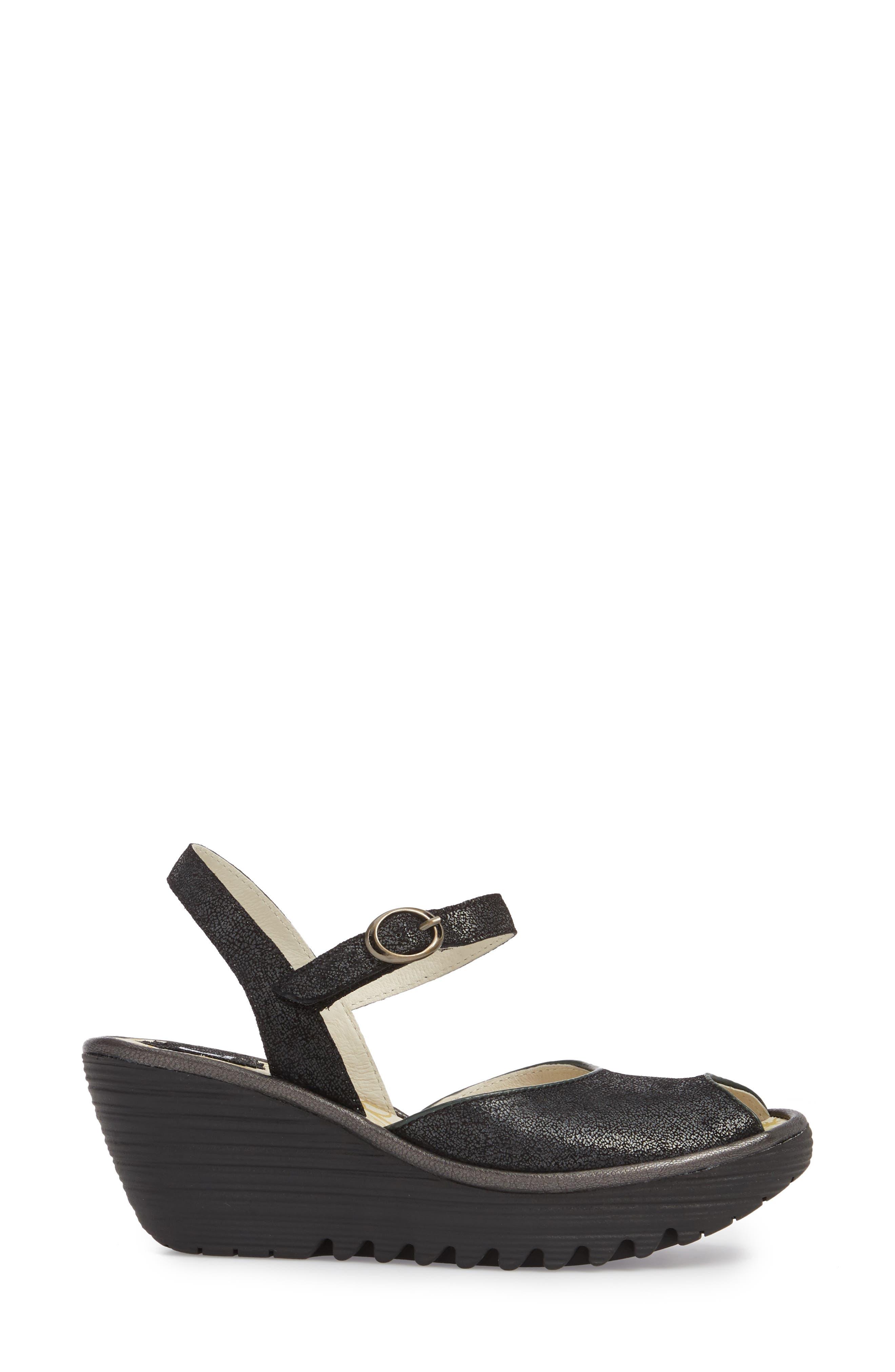 Yora Wedge Sandal,                             Alternate thumbnail 3, color,                             Black/ Graphite Leather