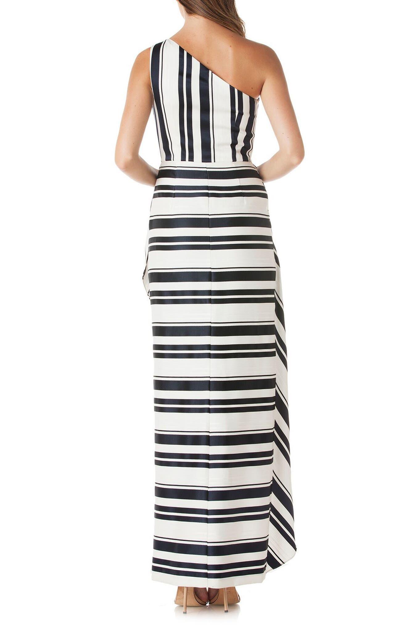 One-Shoulder Cross Front Maxi Dress,                             Alternate thumbnail 2, color,                             Navy/ White