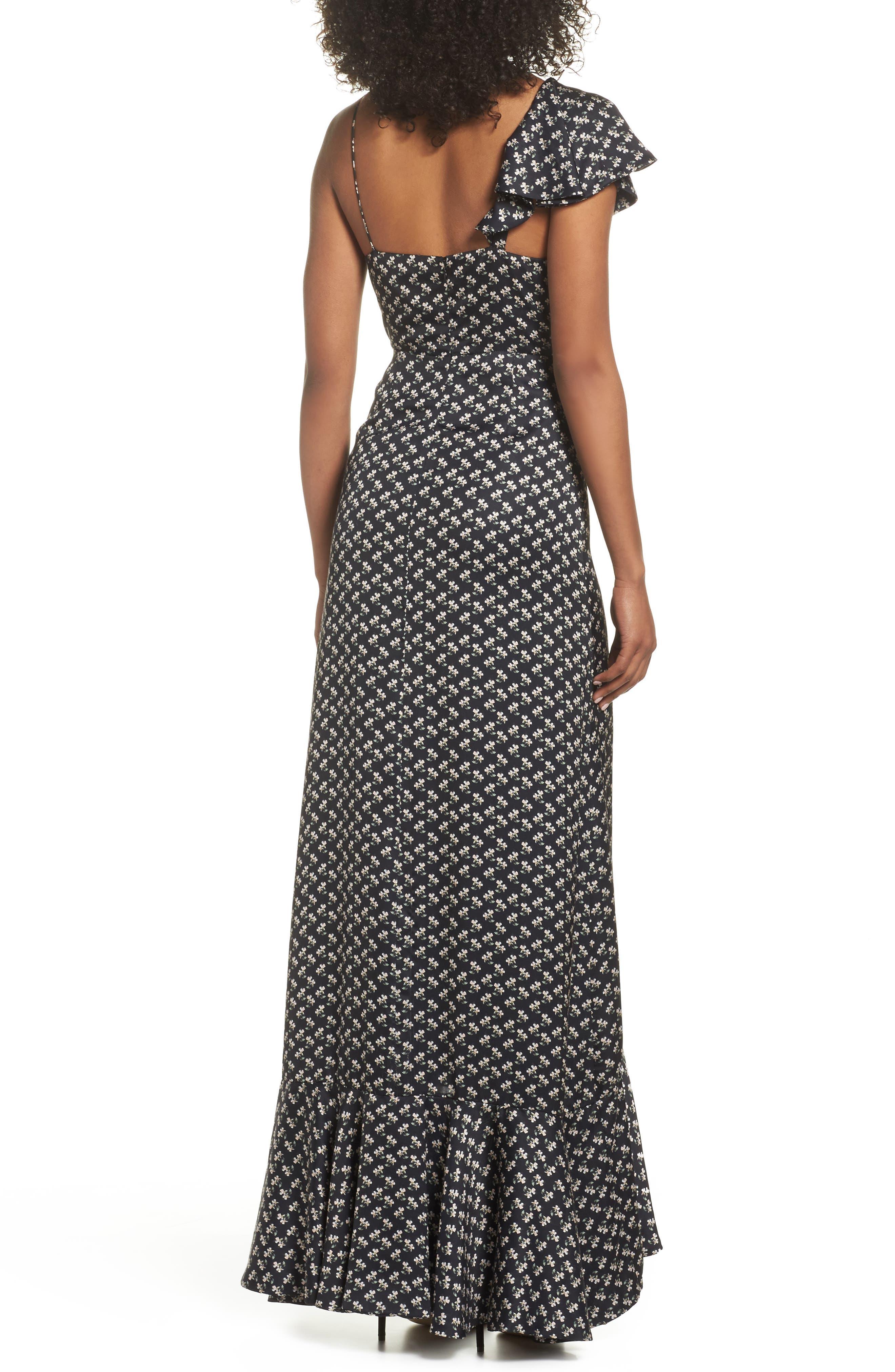 One-Shoulder Ruffle Gown,                             Alternate thumbnail 2, color,                             Kiera Print