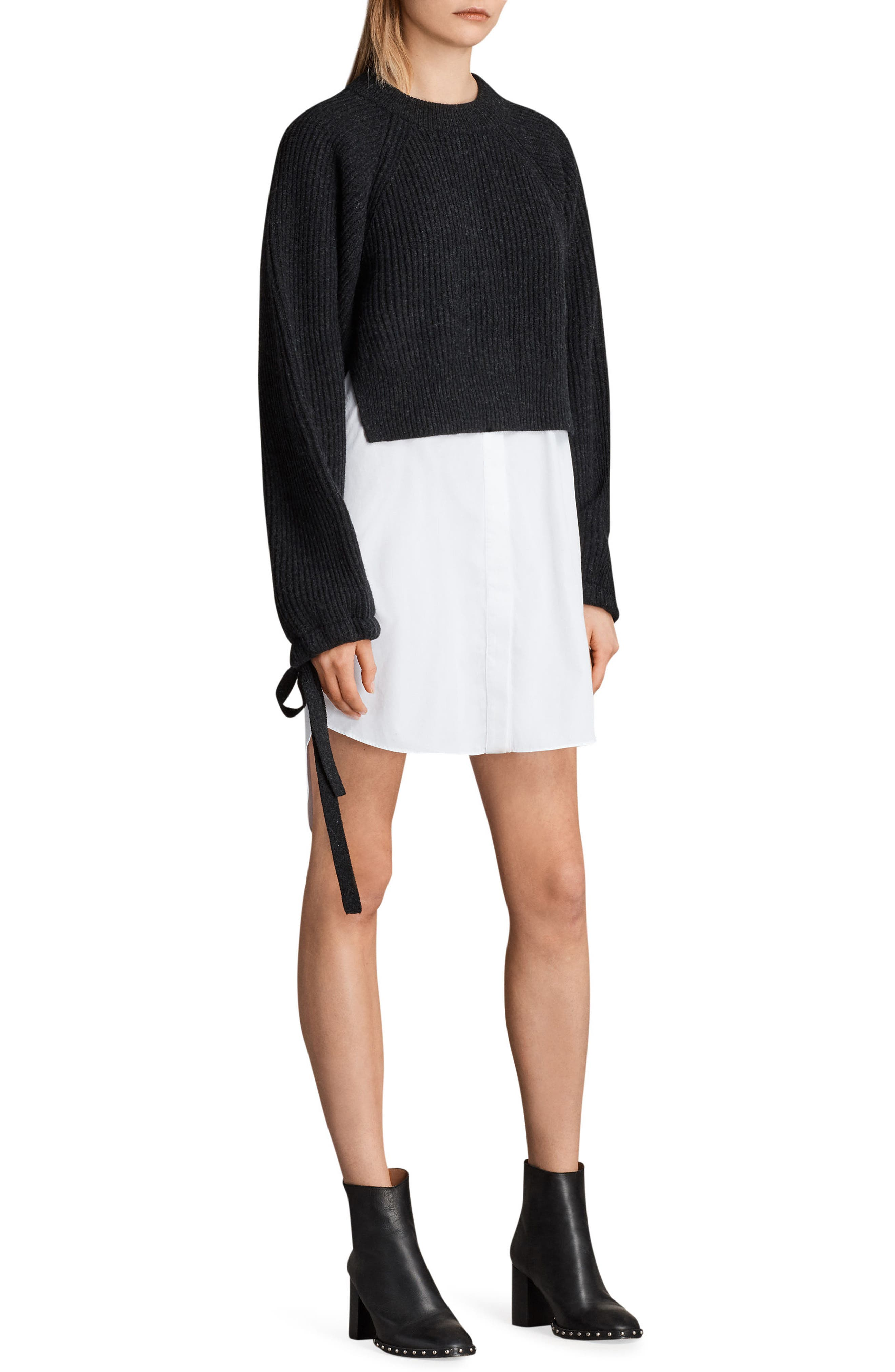 Sura Sweater Dress,                             Alternate thumbnail 3, color,                             Cinder Black Marl