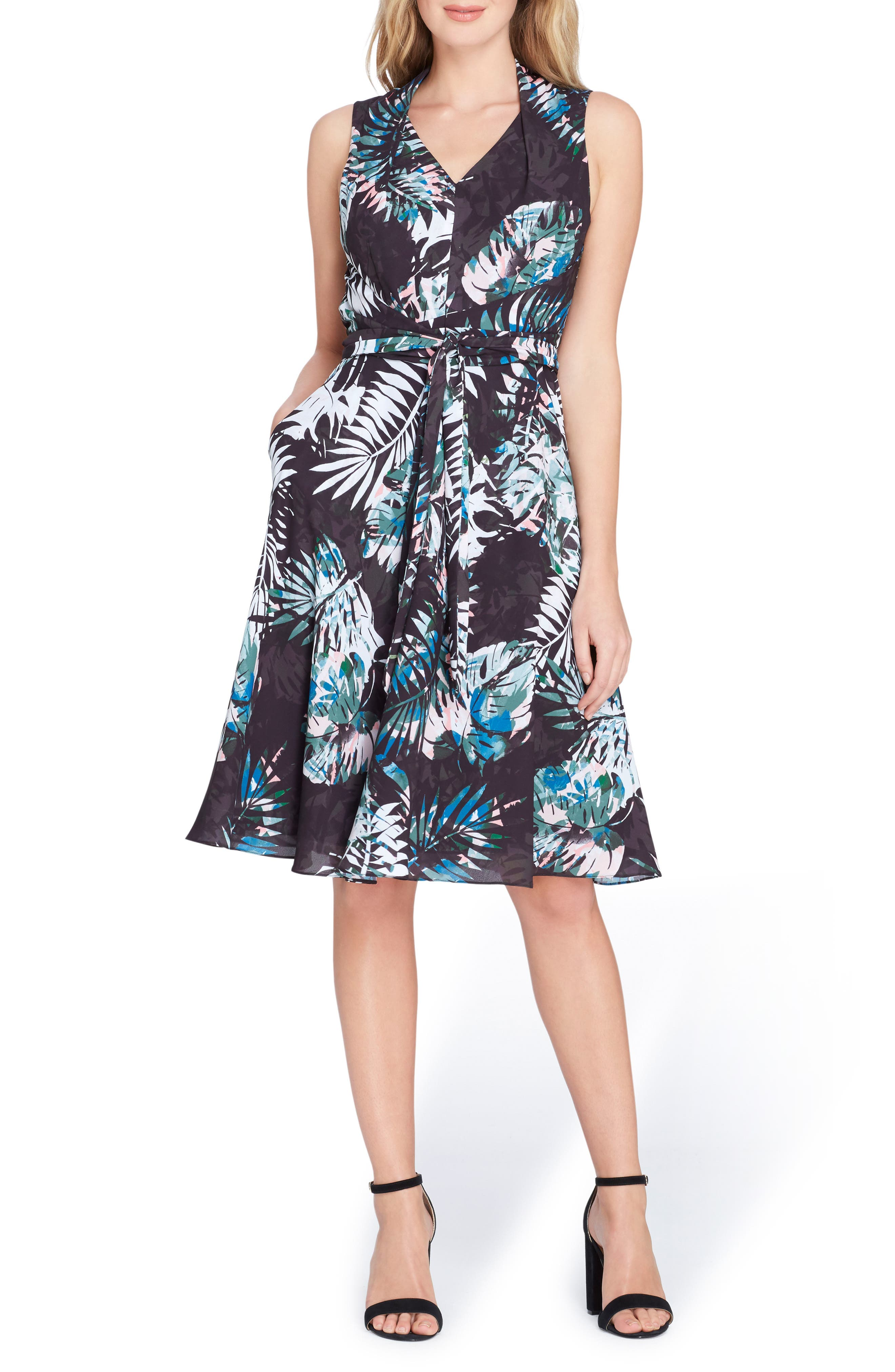 Print Faux Wrap Dress,                             Main thumbnail 1, color,                             Black/ Coral/ Blue