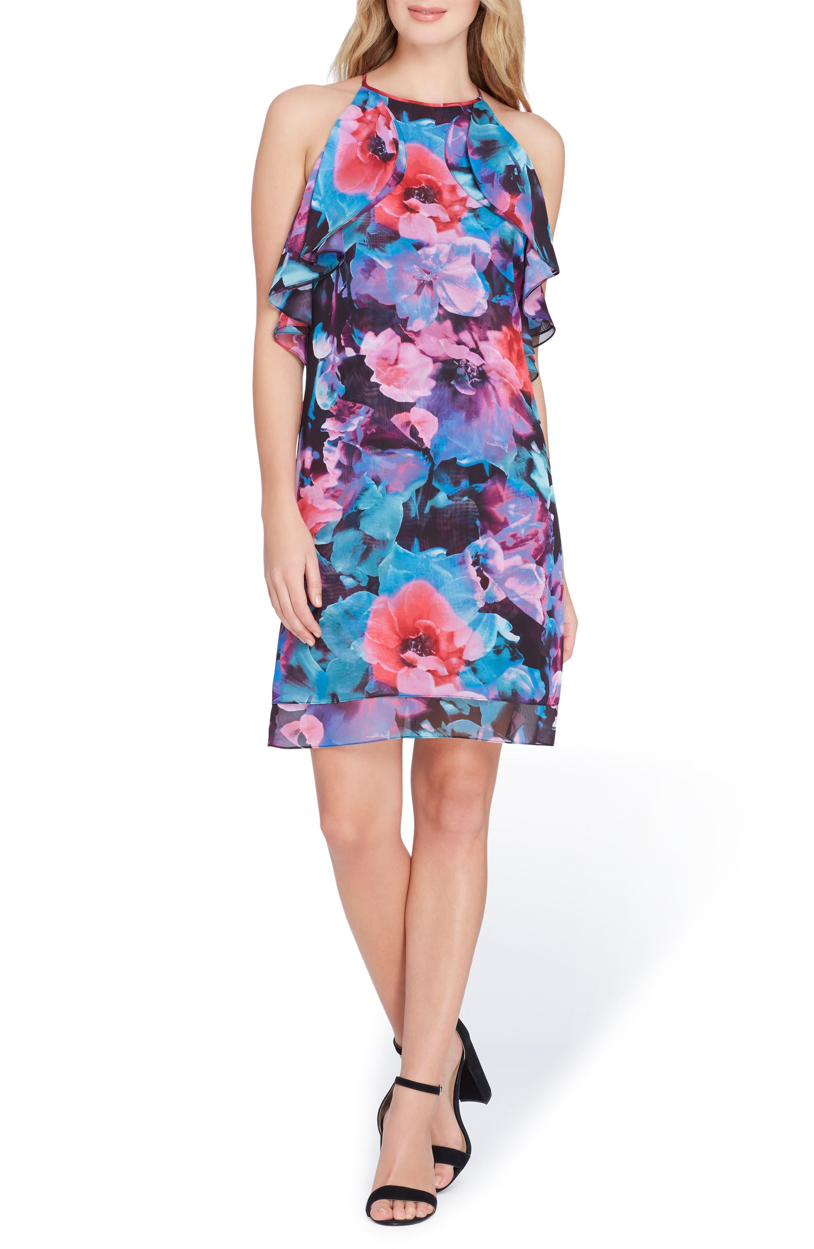 Sleeveless Floral Ruffle Chiffon Dress,                         Main,                         color, Black/ Red/ Aqua