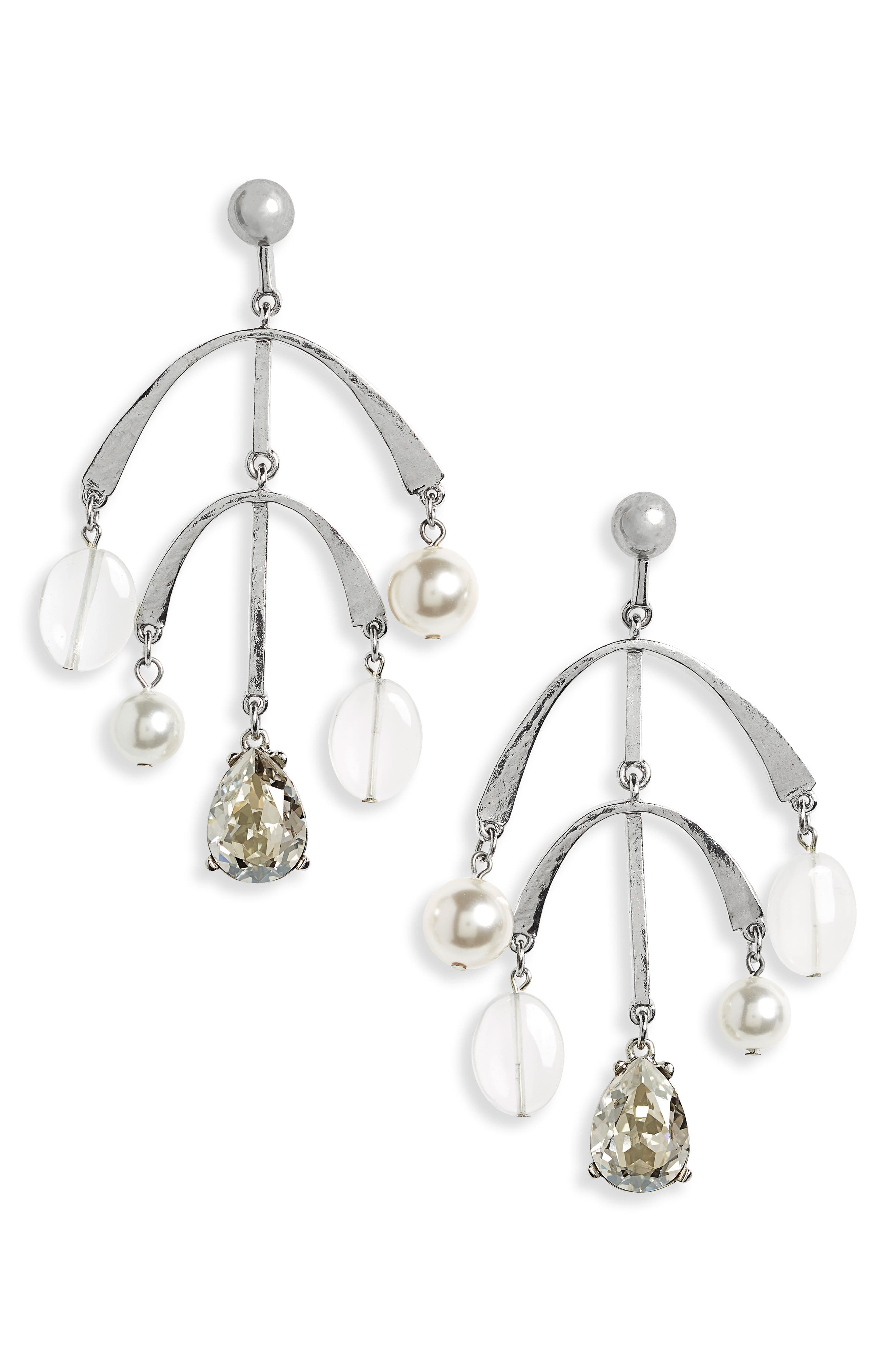 Mobile Drop Earring with Imitation Pearl,                         Main,                         color, Cry Shade/ Silver