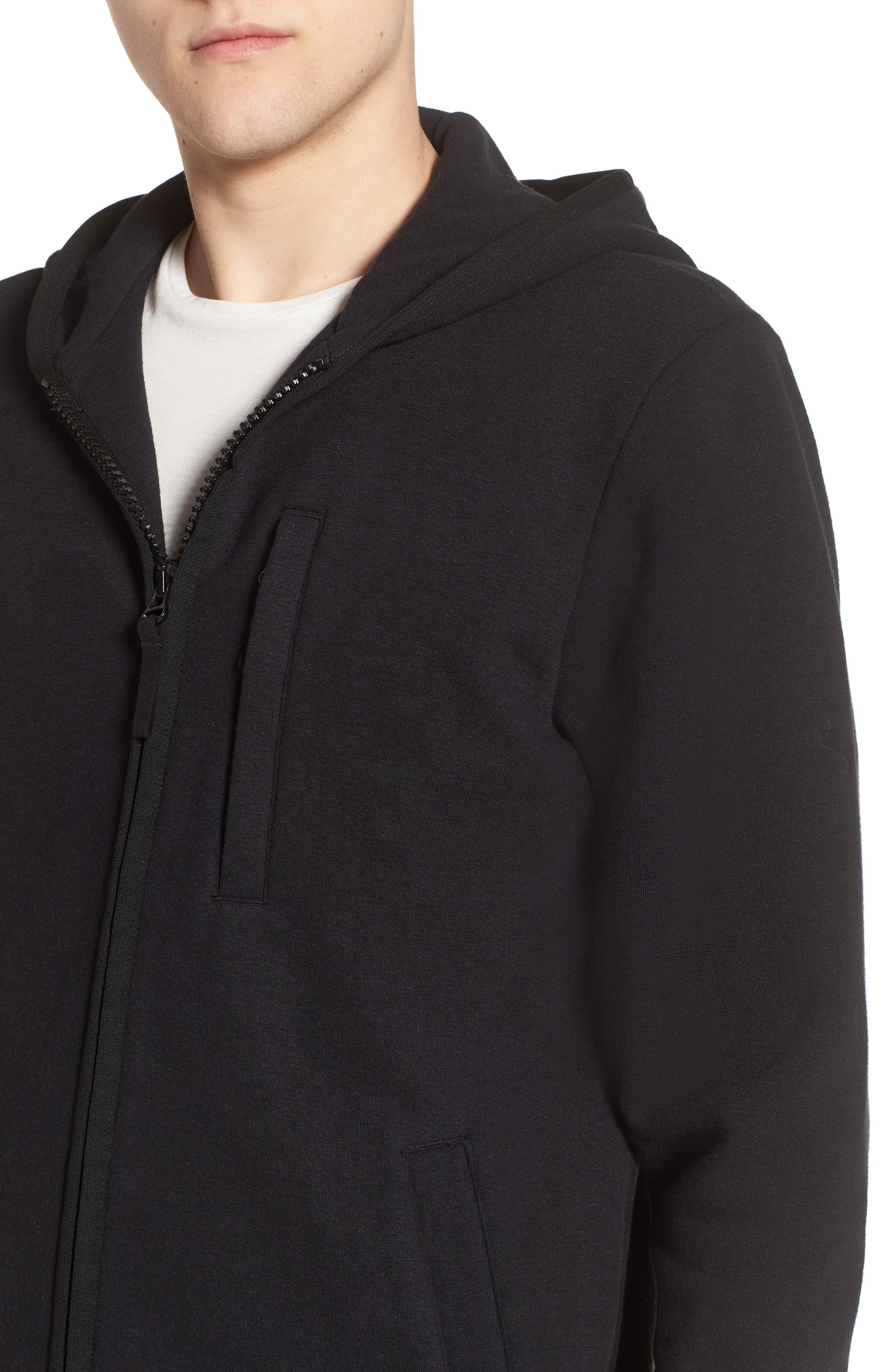 Cotton & Wool Zip Hoodie,                             Alternate thumbnail 4, color,                             Black Black