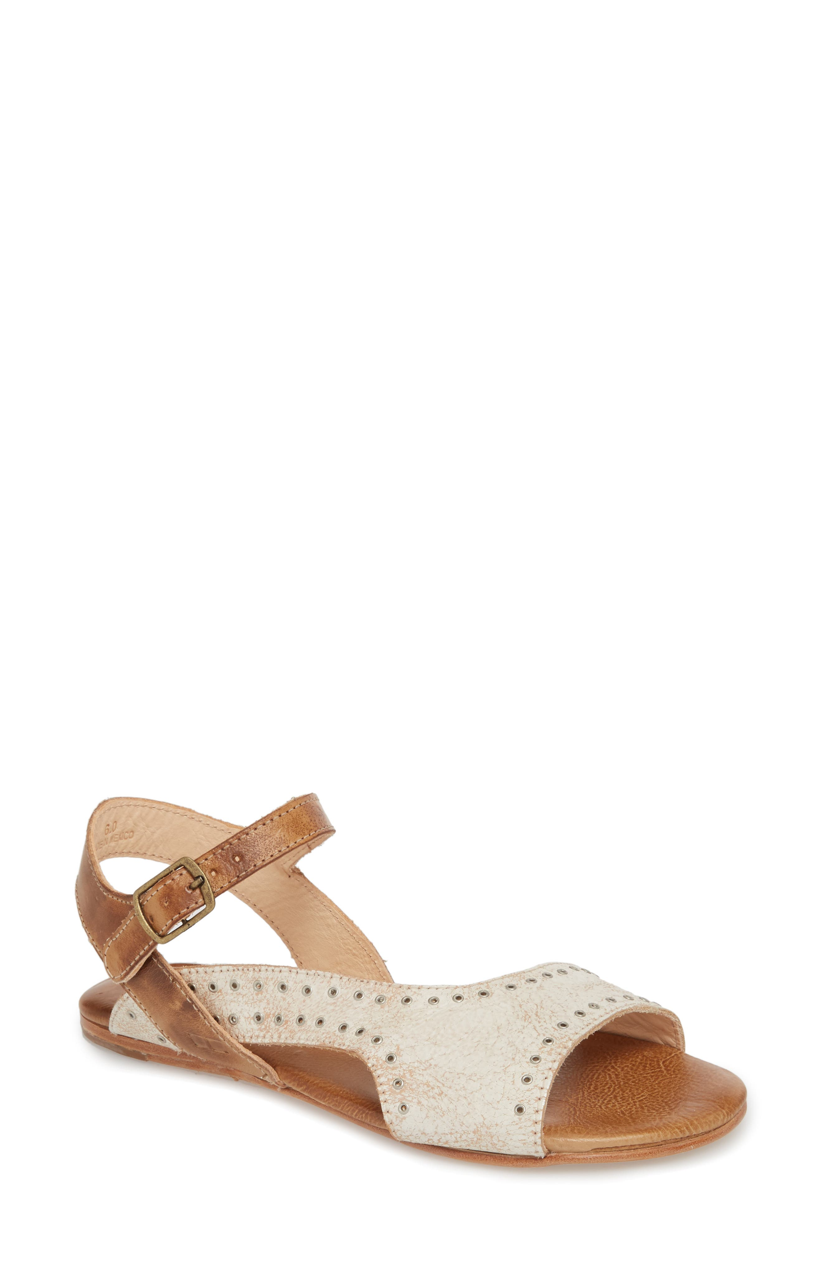 Auburn Flat Sandal,                             Main thumbnail 1, color,                             Nectar/ Tan Leather