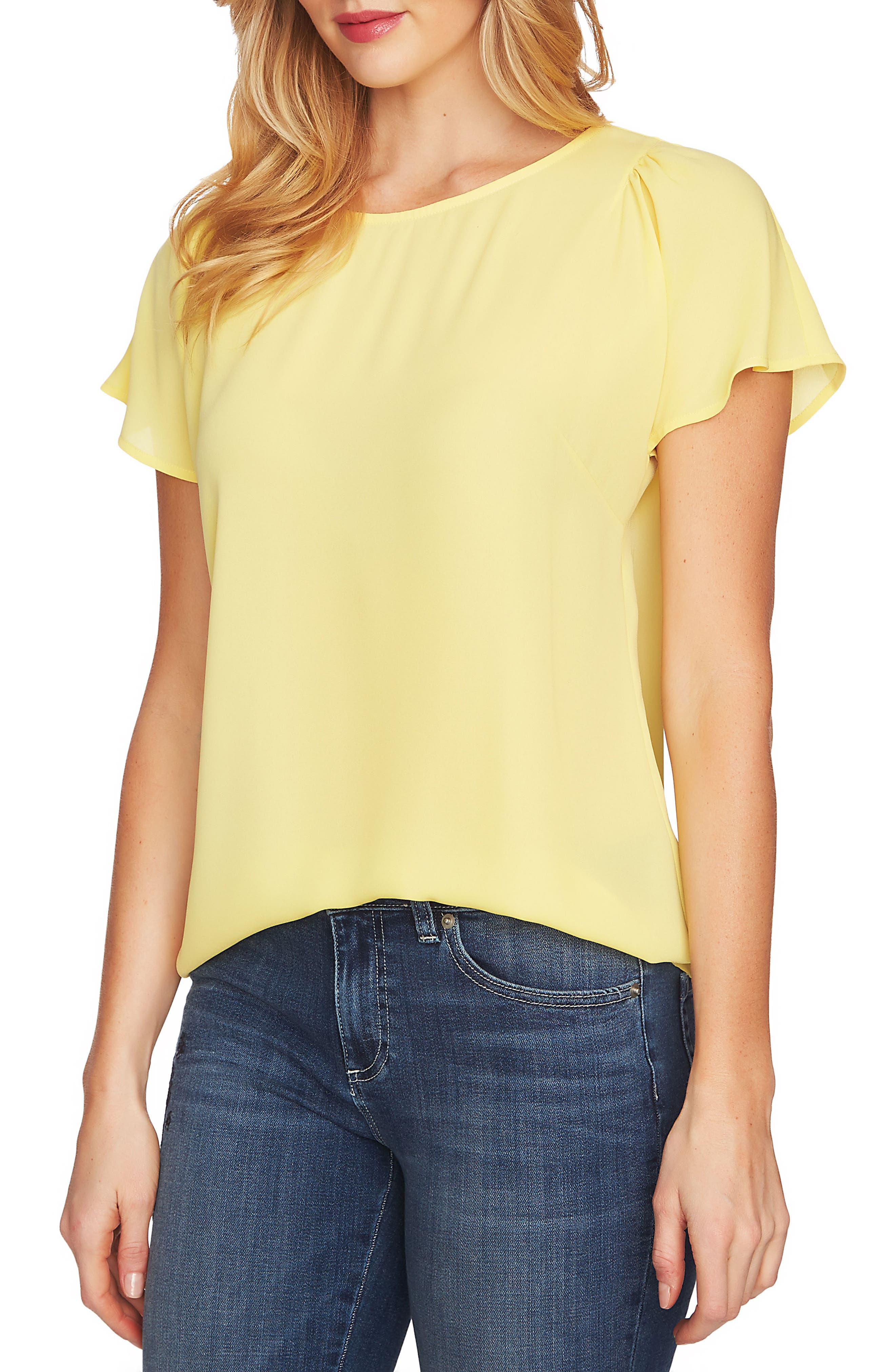 Crepe Flutter Sleeve Blouse,                             Main thumbnail 1, color,                             Finch Yellow