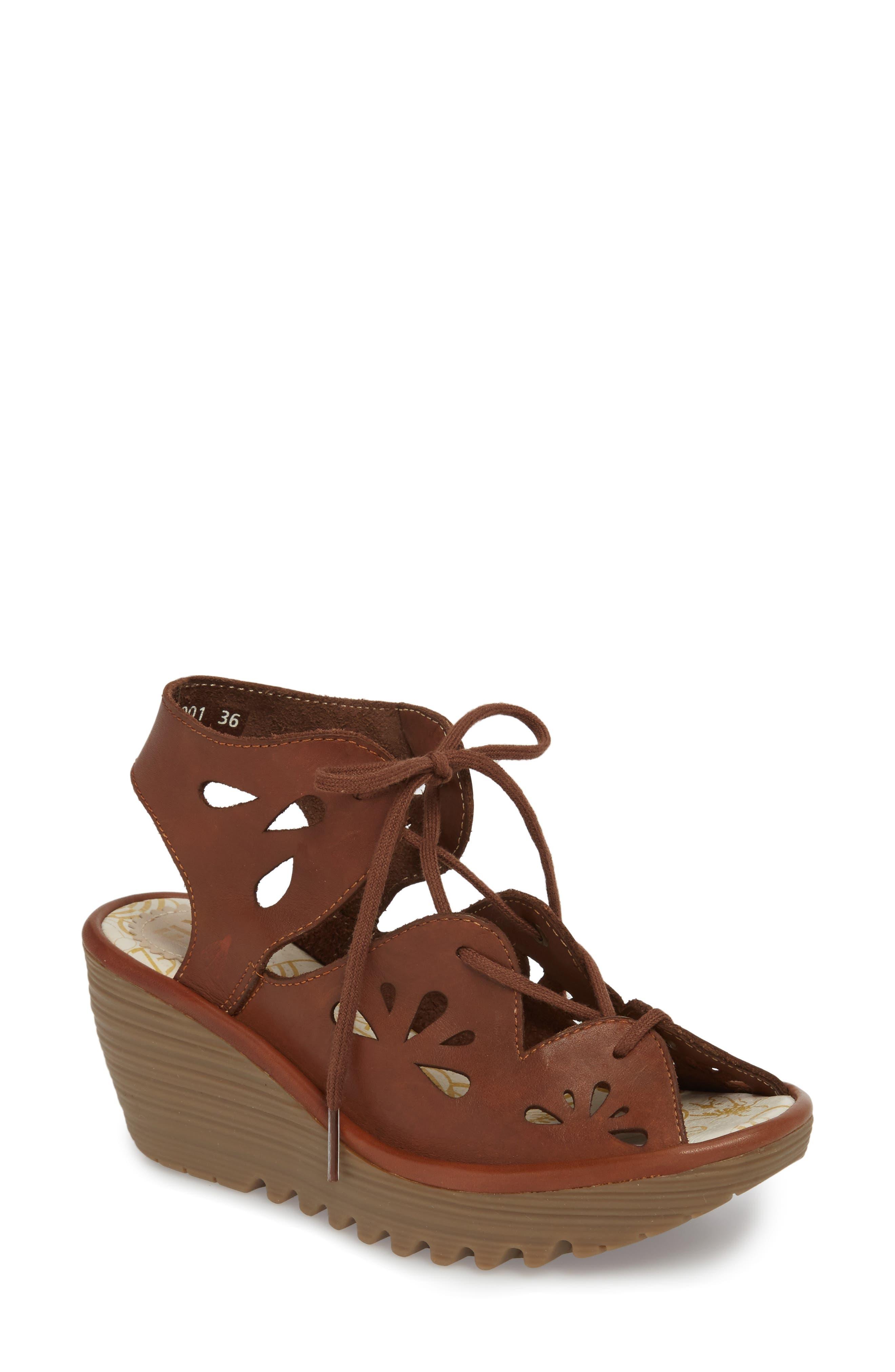 Yote Sandal,                             Main thumbnail 1, color,                             Brown Colmar Leather