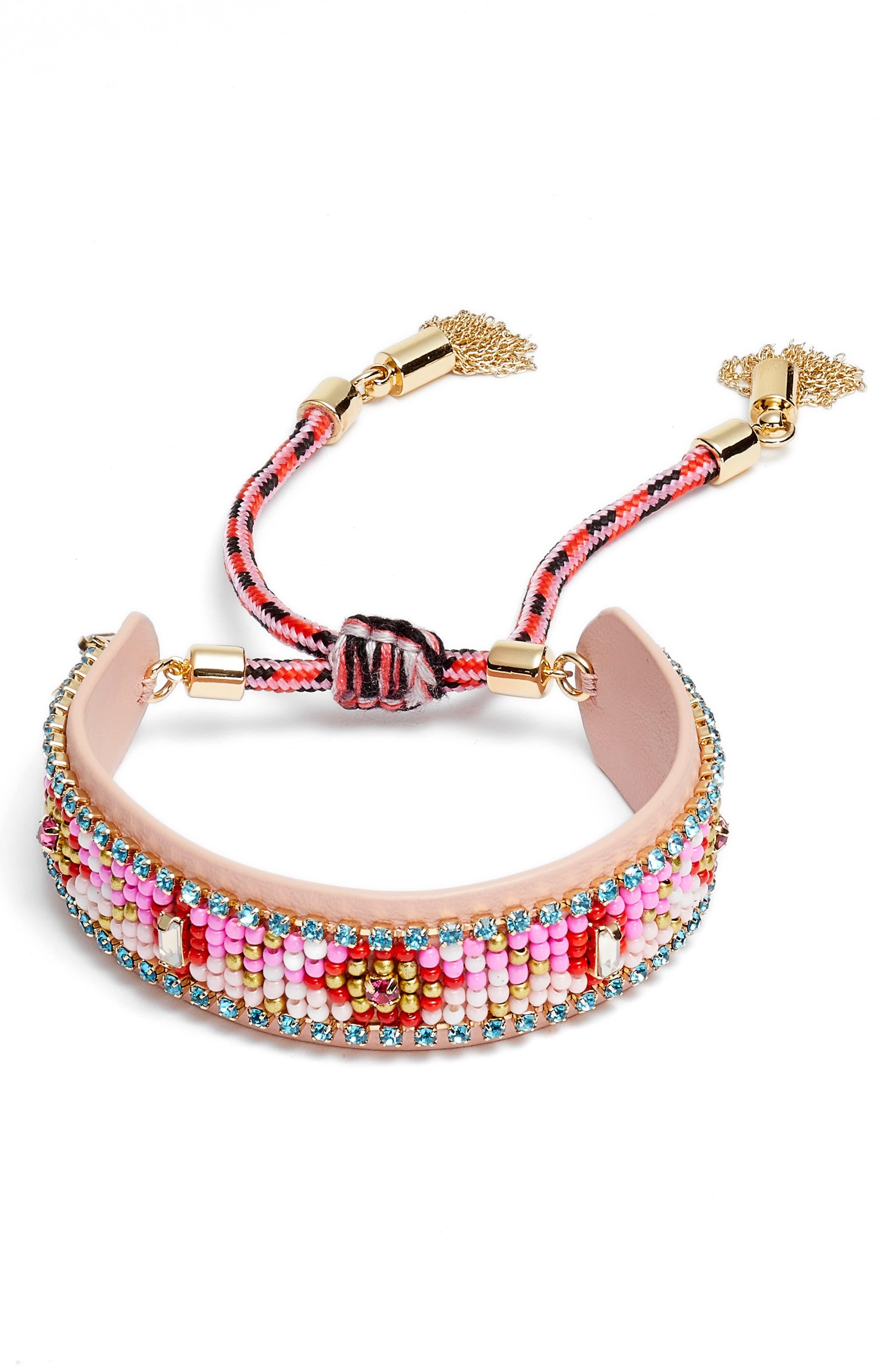 Seed Bead Friendship Bracelet,                             Main thumbnail 1, color,                             Pink Multi