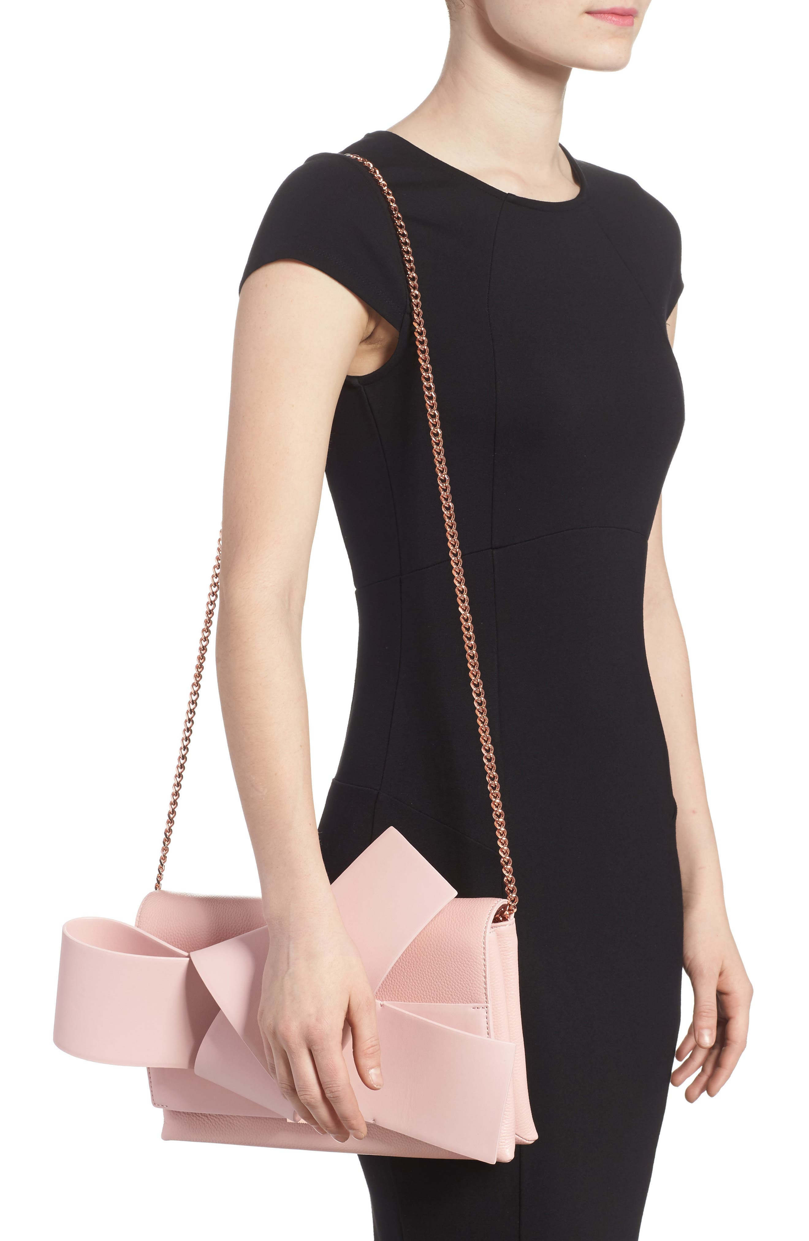 Knotted Bow Leather Clutch,                             Alternate thumbnail 2, color,                             Light Pink