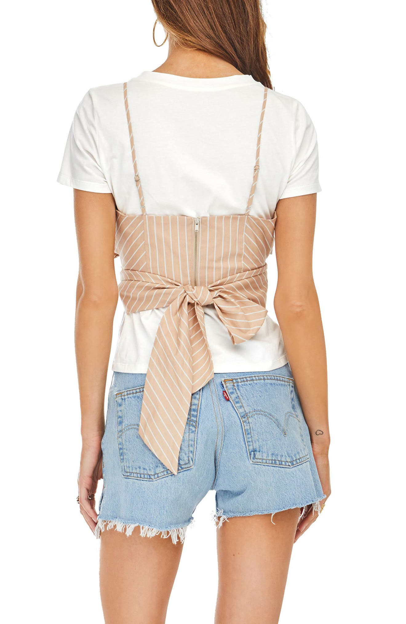 Maddie Layered Look Top,                             Alternate thumbnail 3, color,                             Dusty Blush Stripe