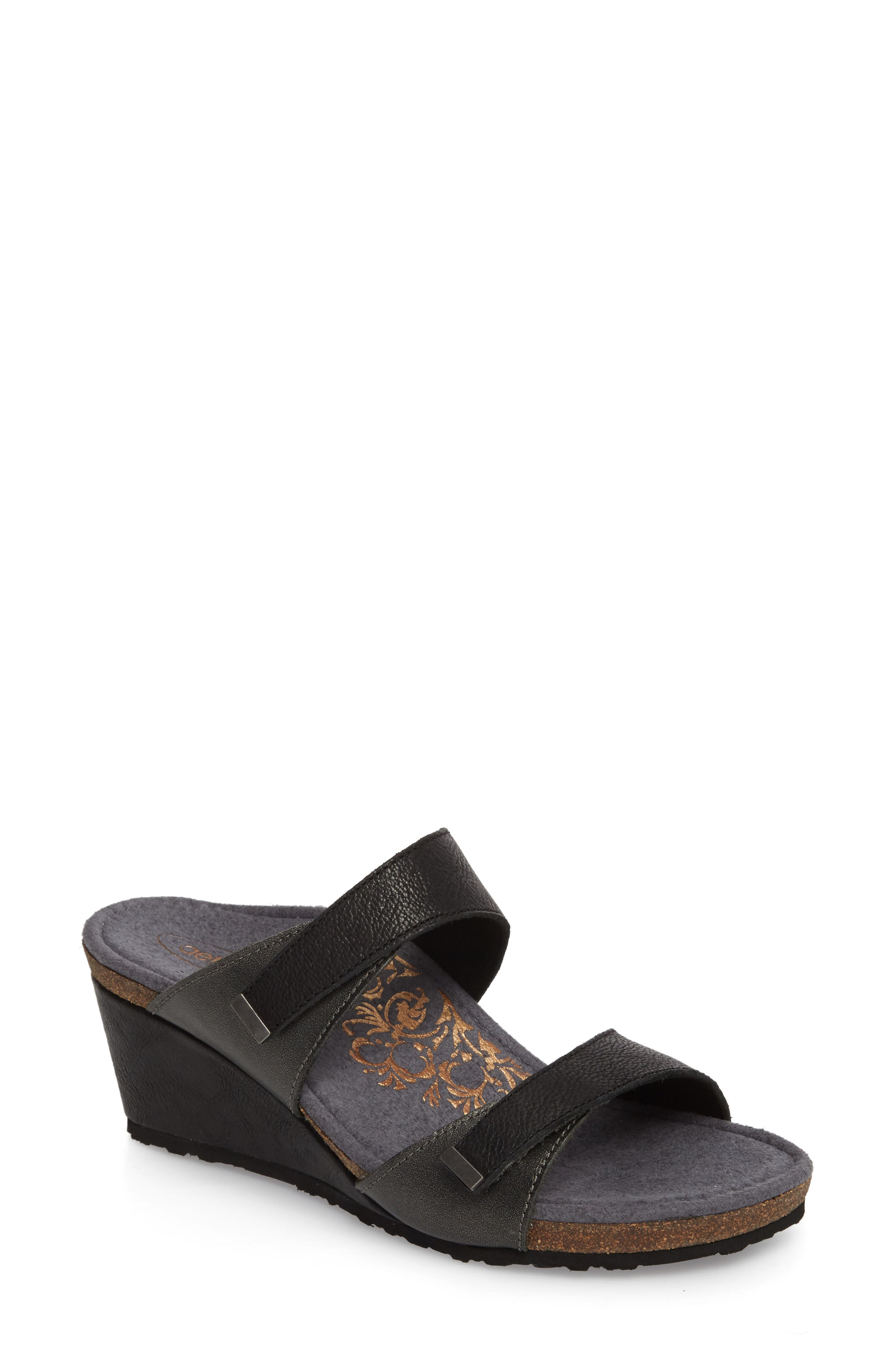 Chantel Wedge Sandal,                             Main thumbnail 1, color,                             Black Leather