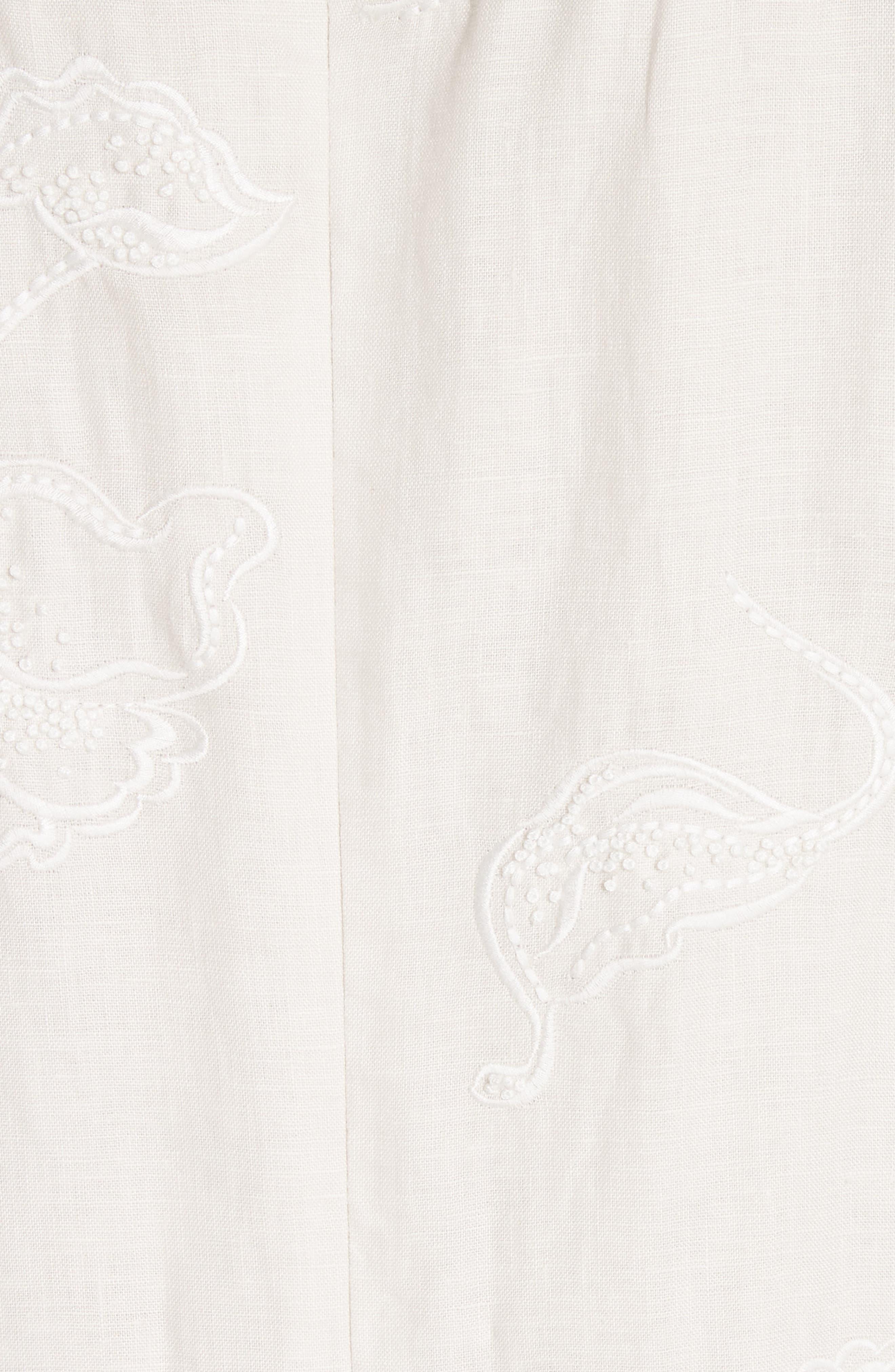 Duncan Embroidered Linen Dress,                             Alternate thumbnail 6, color,                             Raffia