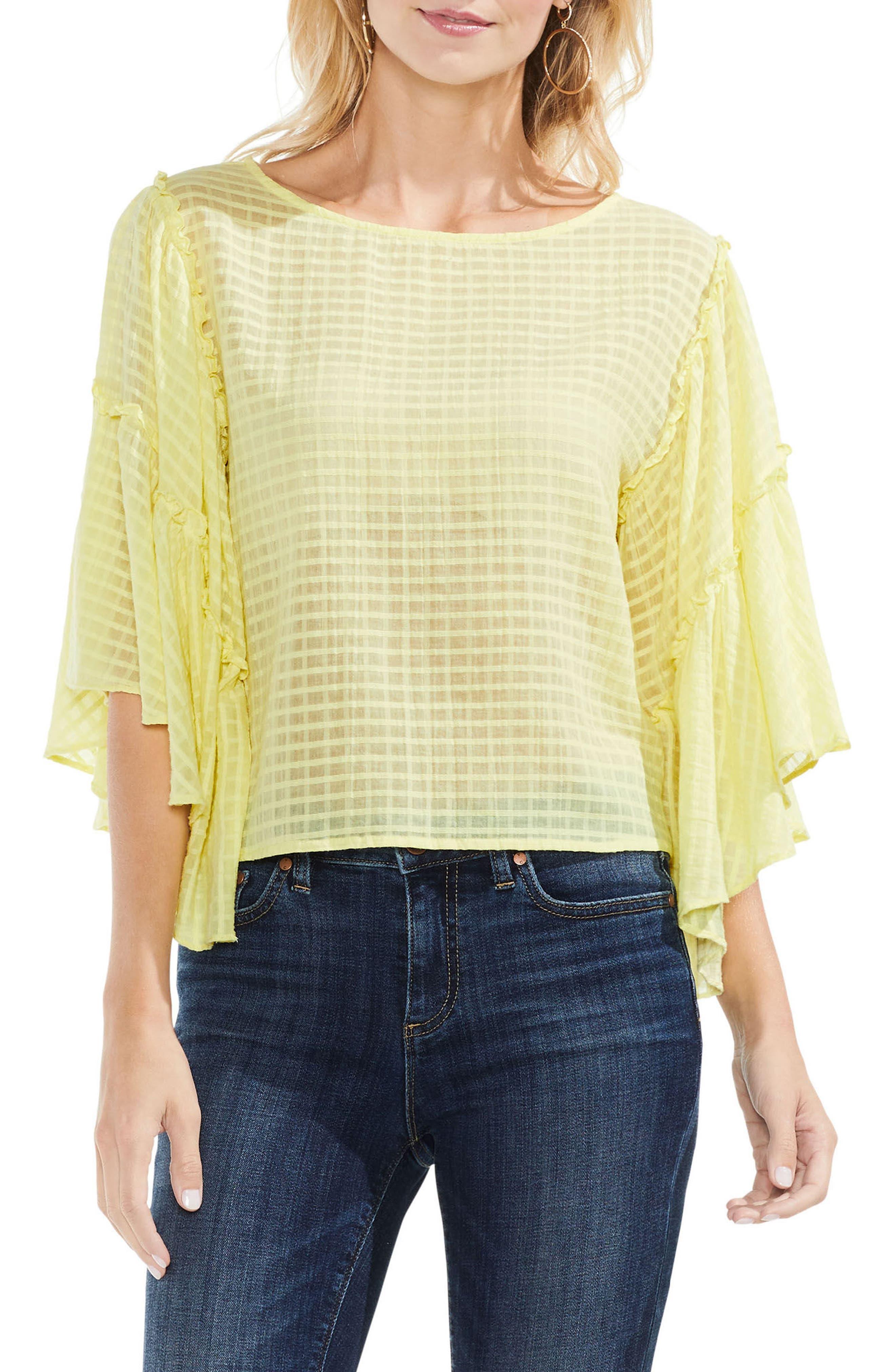 Grid Drop Shoulder Ruffle Sleeve Blouse,                             Main thumbnail 1, color,                             Lemon Cream