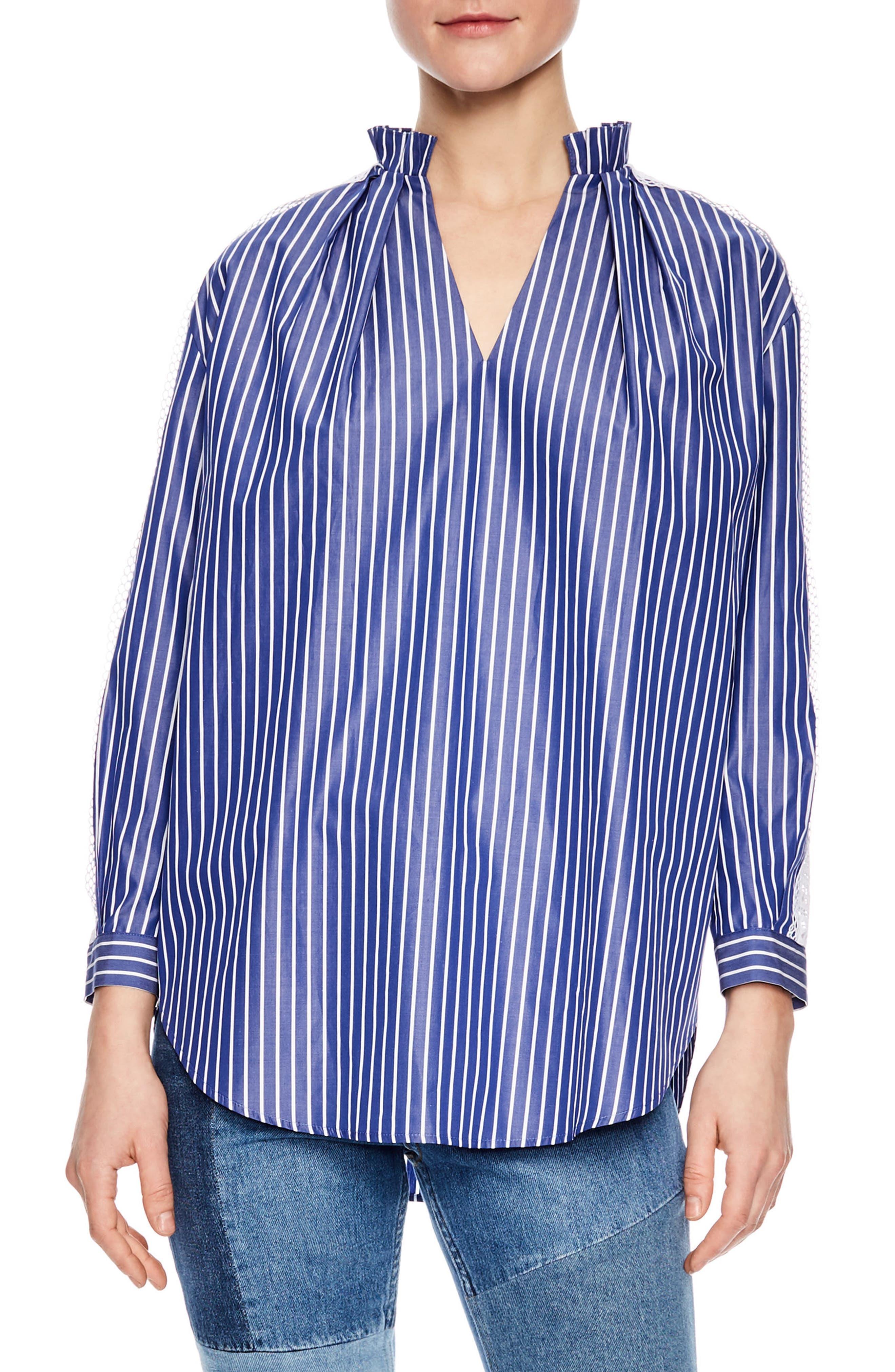 Bleu Lace Stripe Cotton Blouse,                             Main thumbnail 1, color,                             Blue