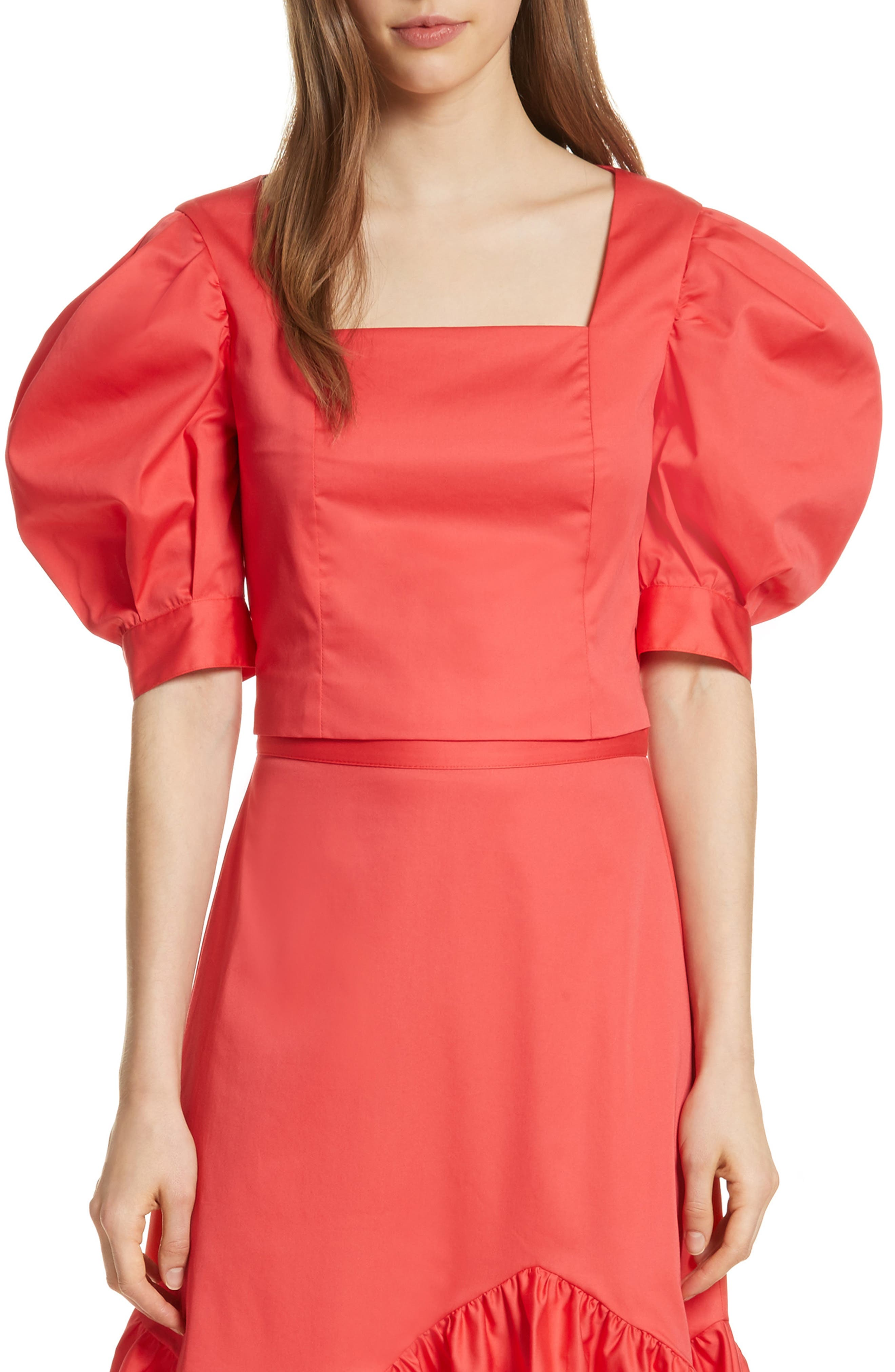 Prose & Poetry Claudia Puff Sleeve Top,                             Main thumbnail 1, color,                             Watermelon