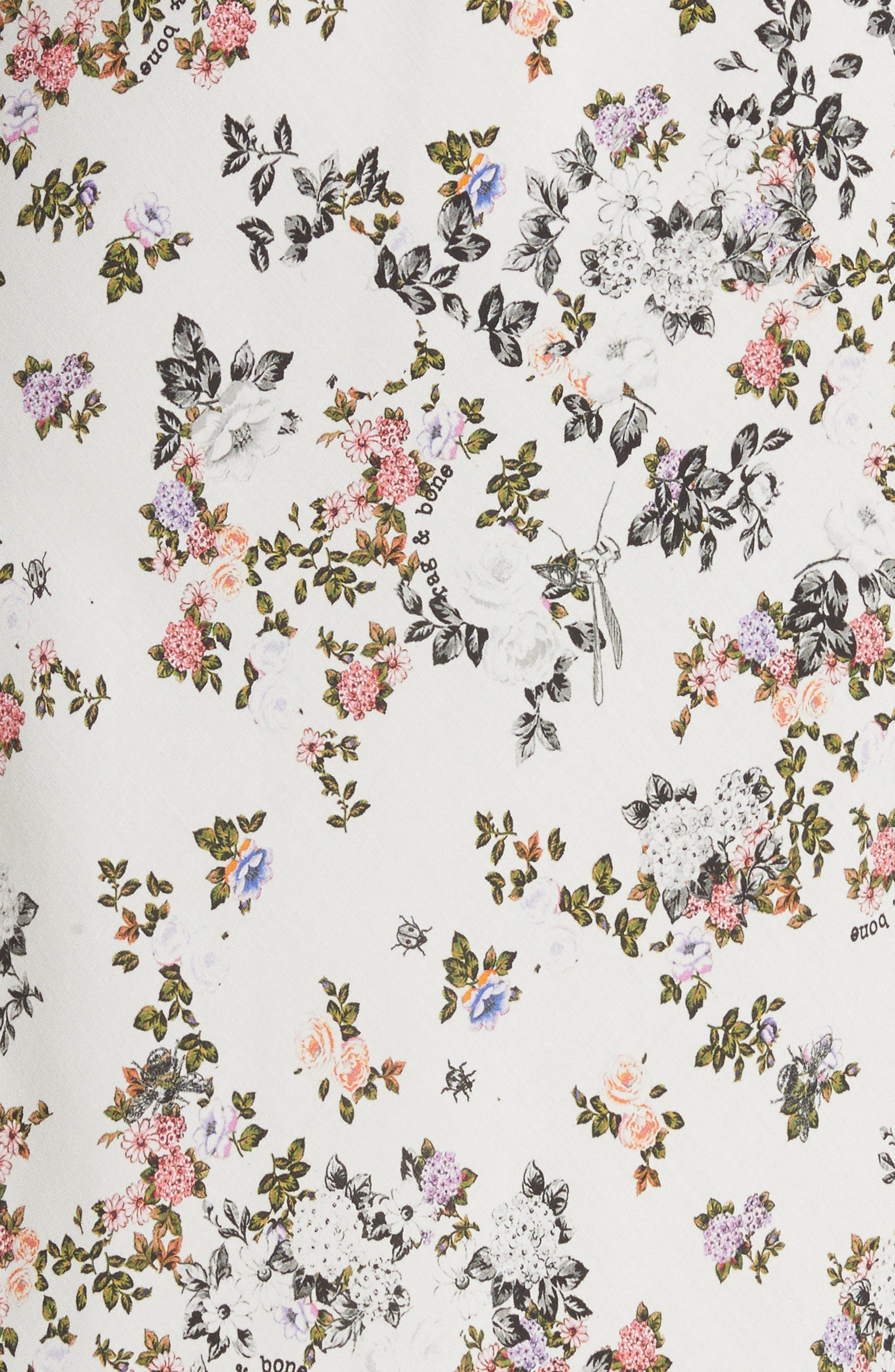 Astrid Floral Print Slipdress,                             Alternate thumbnail 5, color,                             Wht Grdn Flr