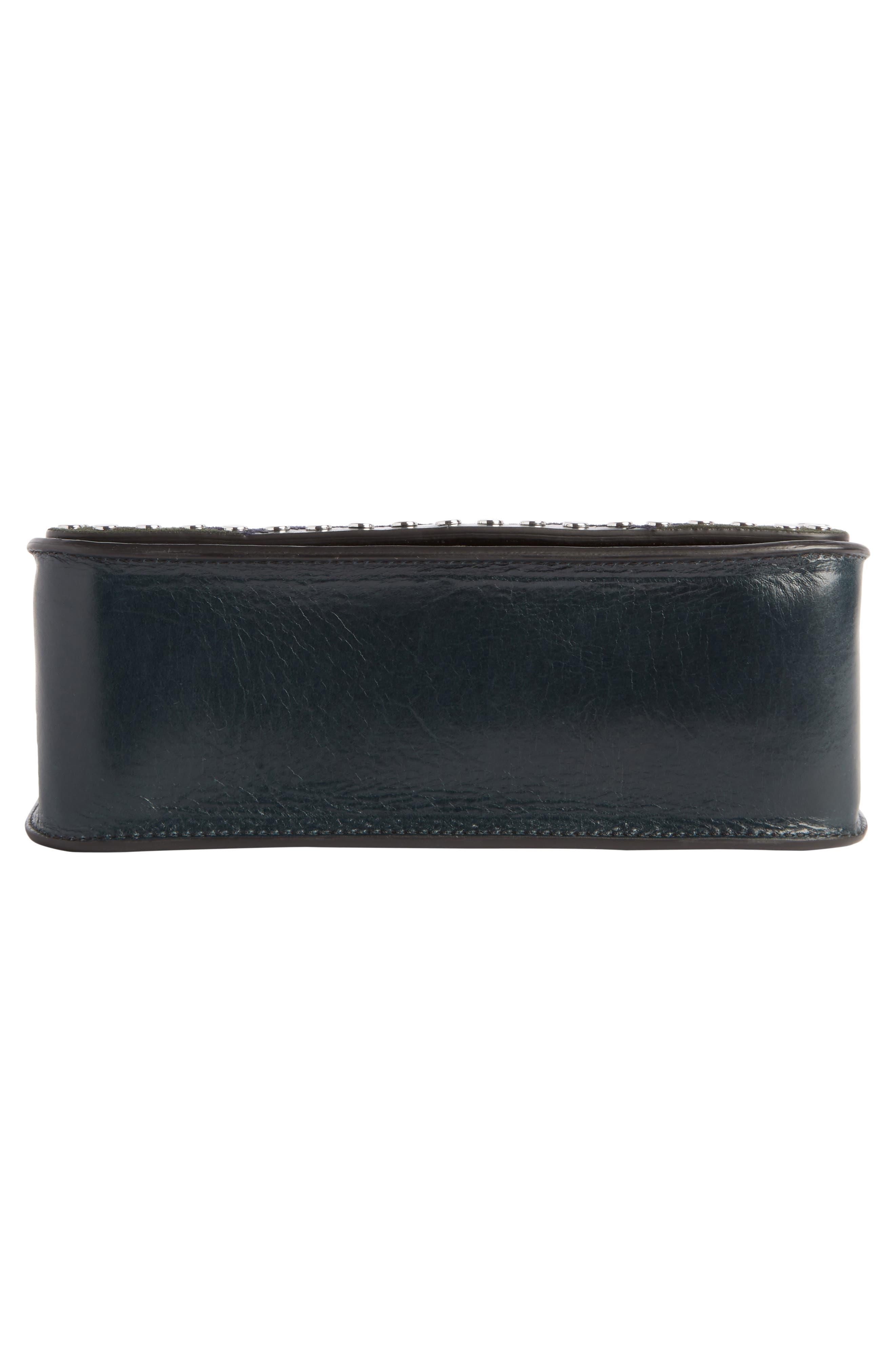 Calibar Patchwork Leather Crossbody Bag,                             Alternate thumbnail 4, color,                             Petrol