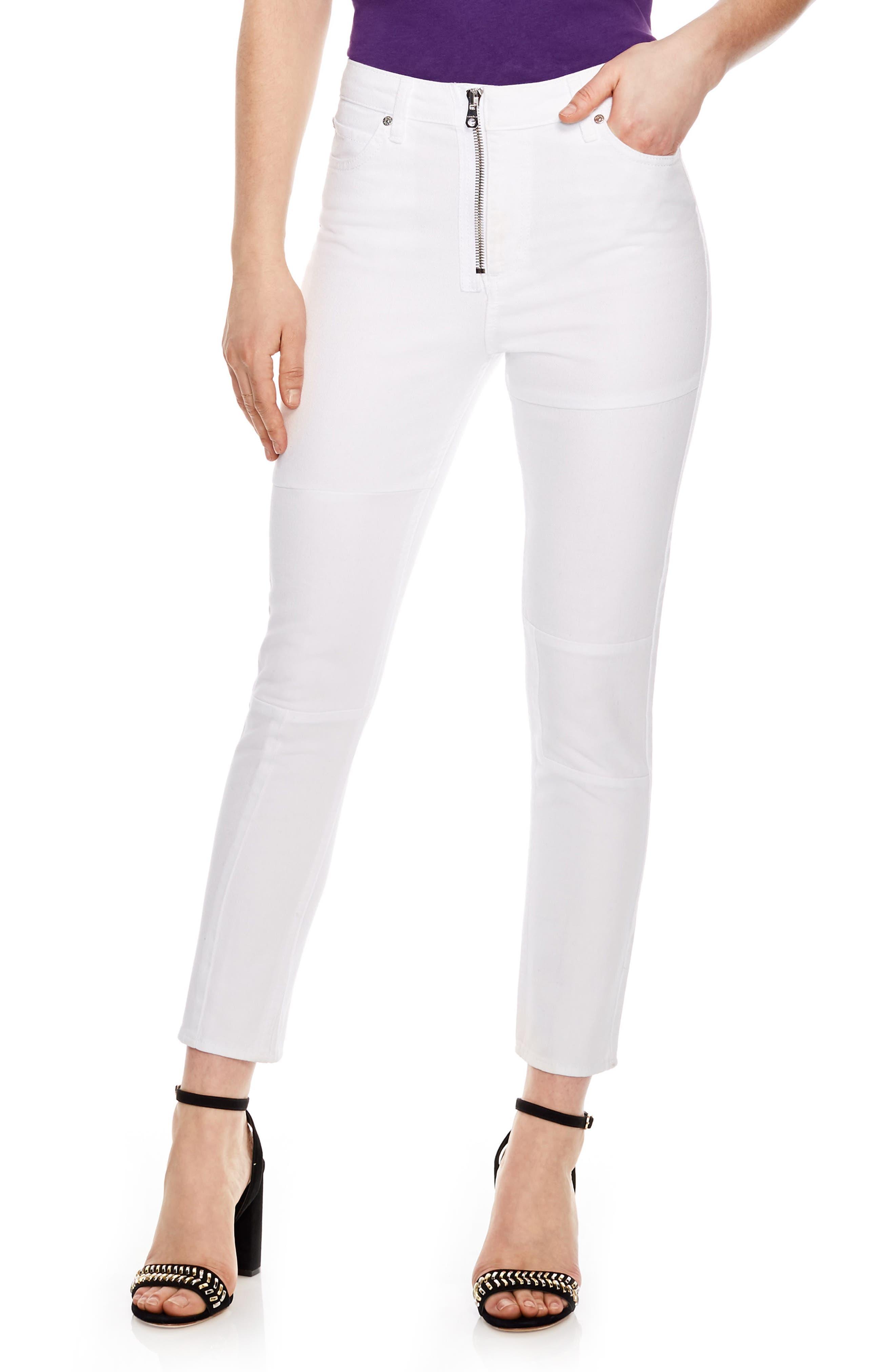 Blanc White Zip Jeans,                             Main thumbnail 1, color,                             White