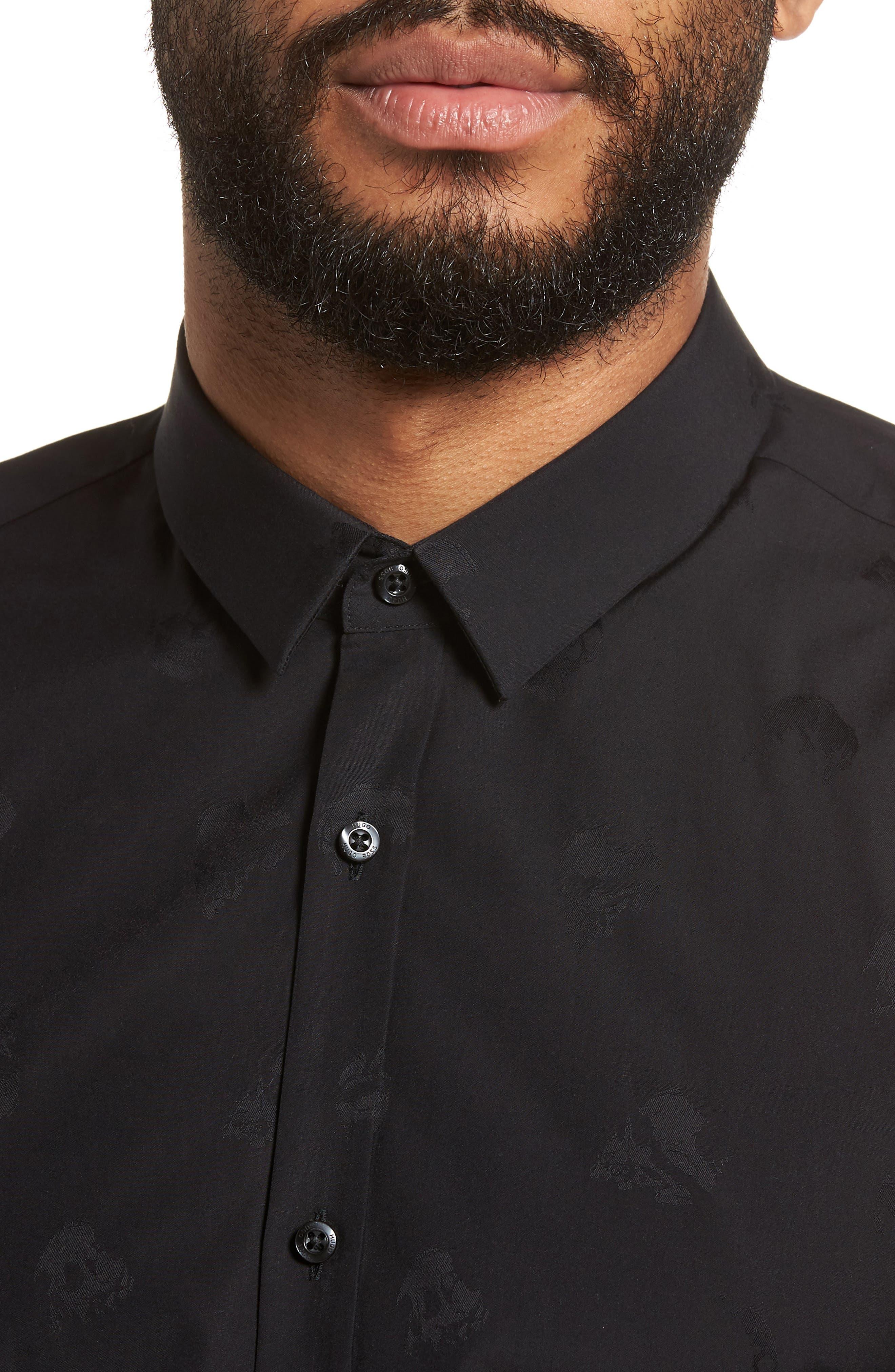Ero Slim Fit Print Sport Shirt,                             Alternate thumbnail 4, color,                             Black