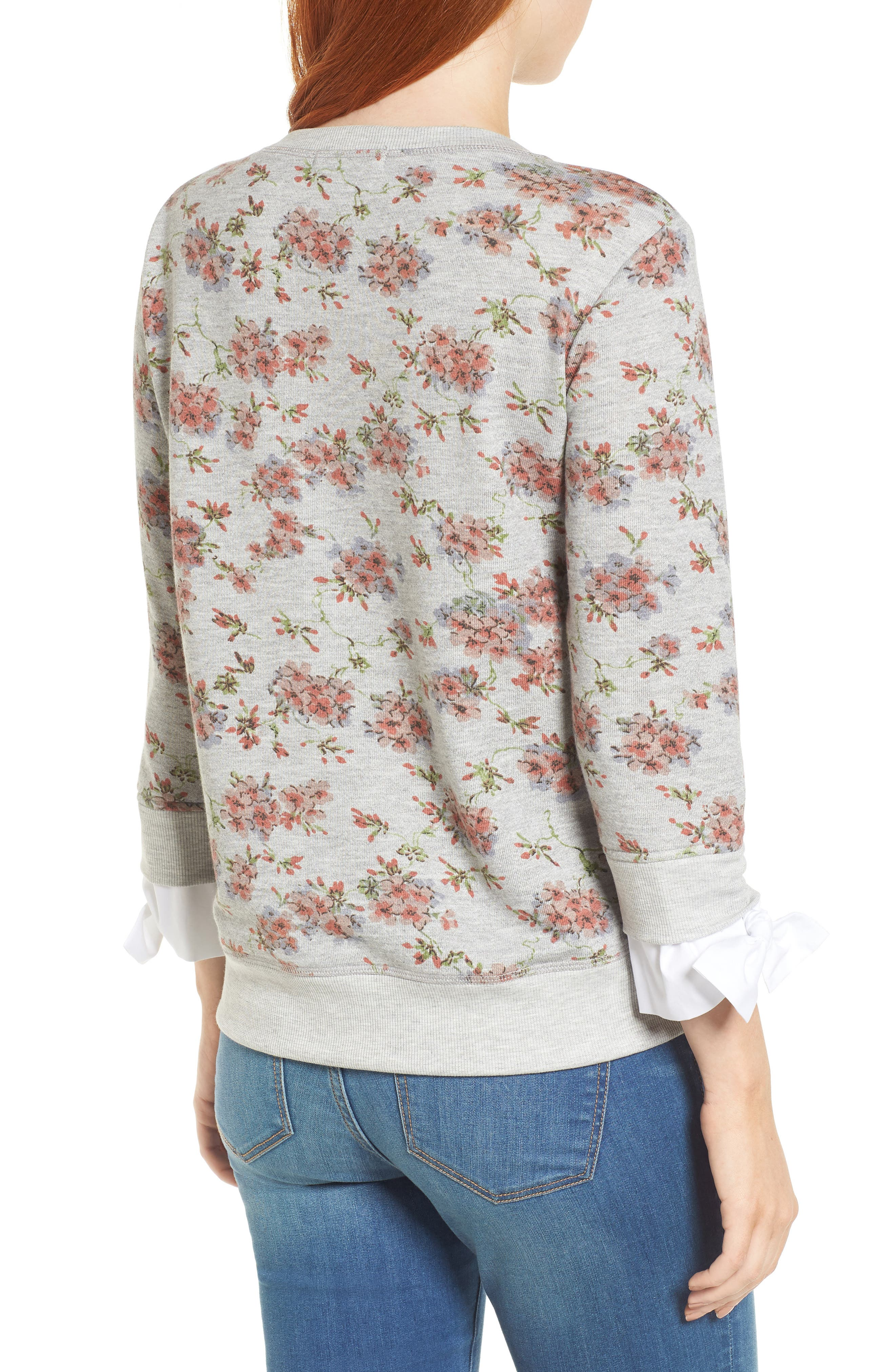 Poplin Cuff Sweatshirt,                             Alternate thumbnail 2, color,                             Grey Blush Floral W/ White
