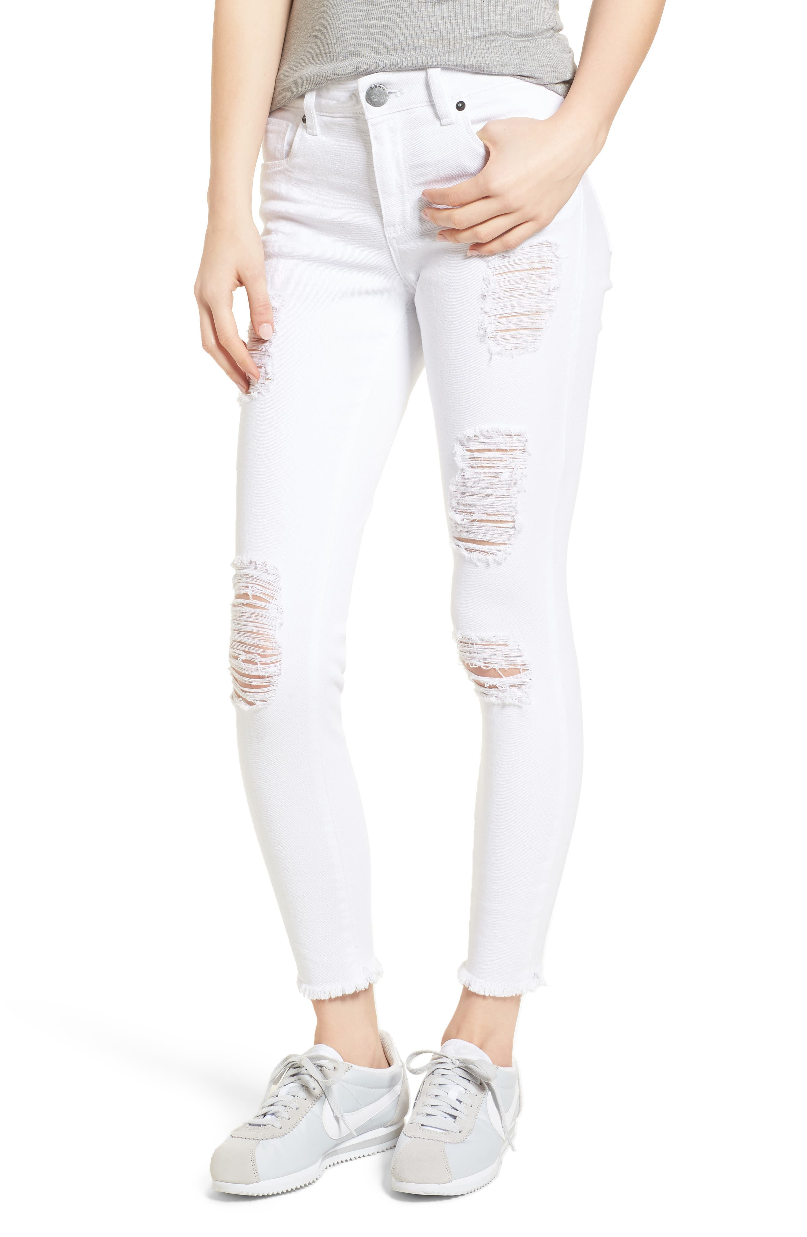 Emma Distressed Skinny Jeans,                             Main thumbnail 1, color,                             Optic White