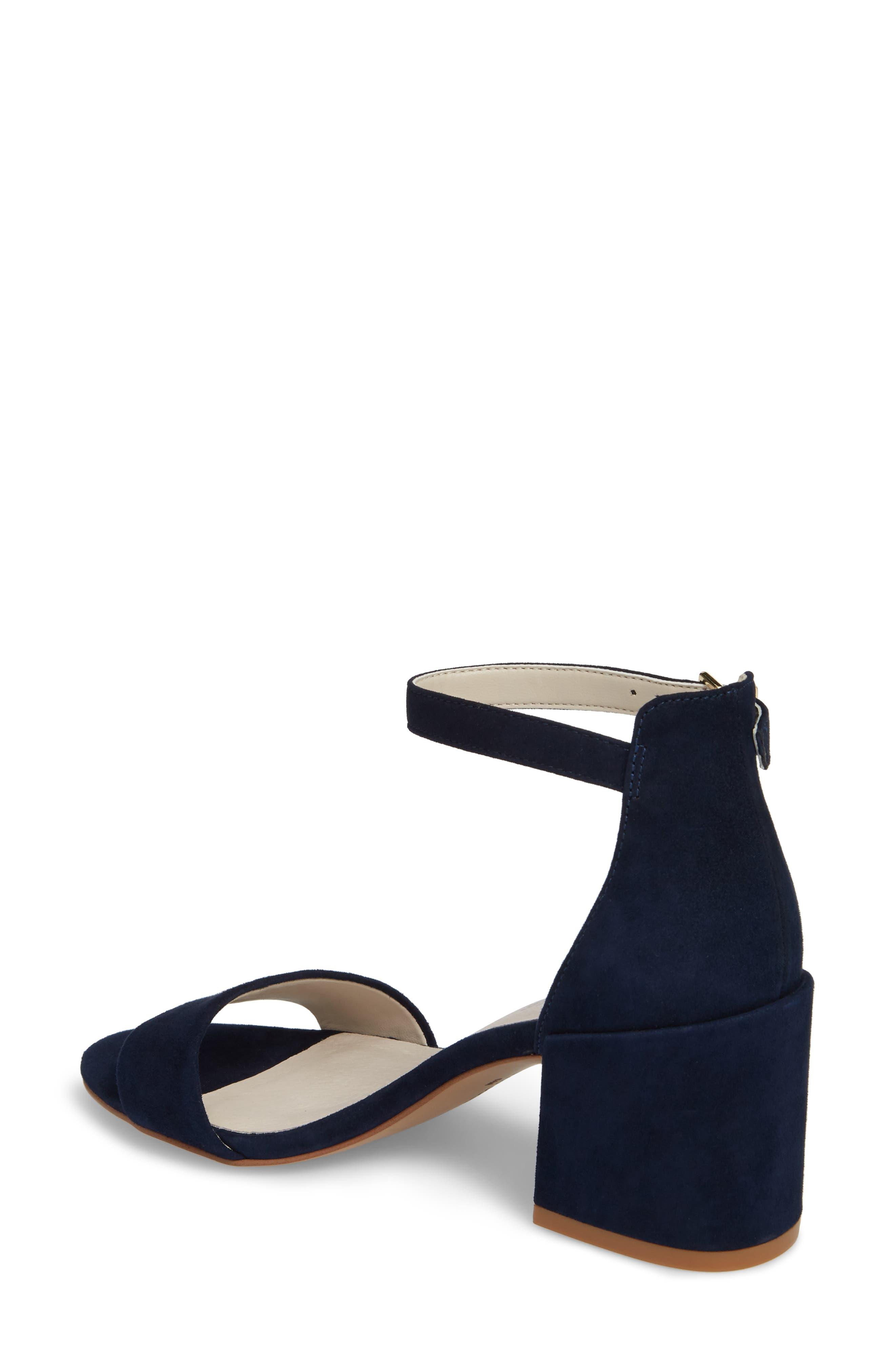 Hannon Block Heel Ankle Strap Sandal,                             Alternate thumbnail 2, color,                             Navy Suede