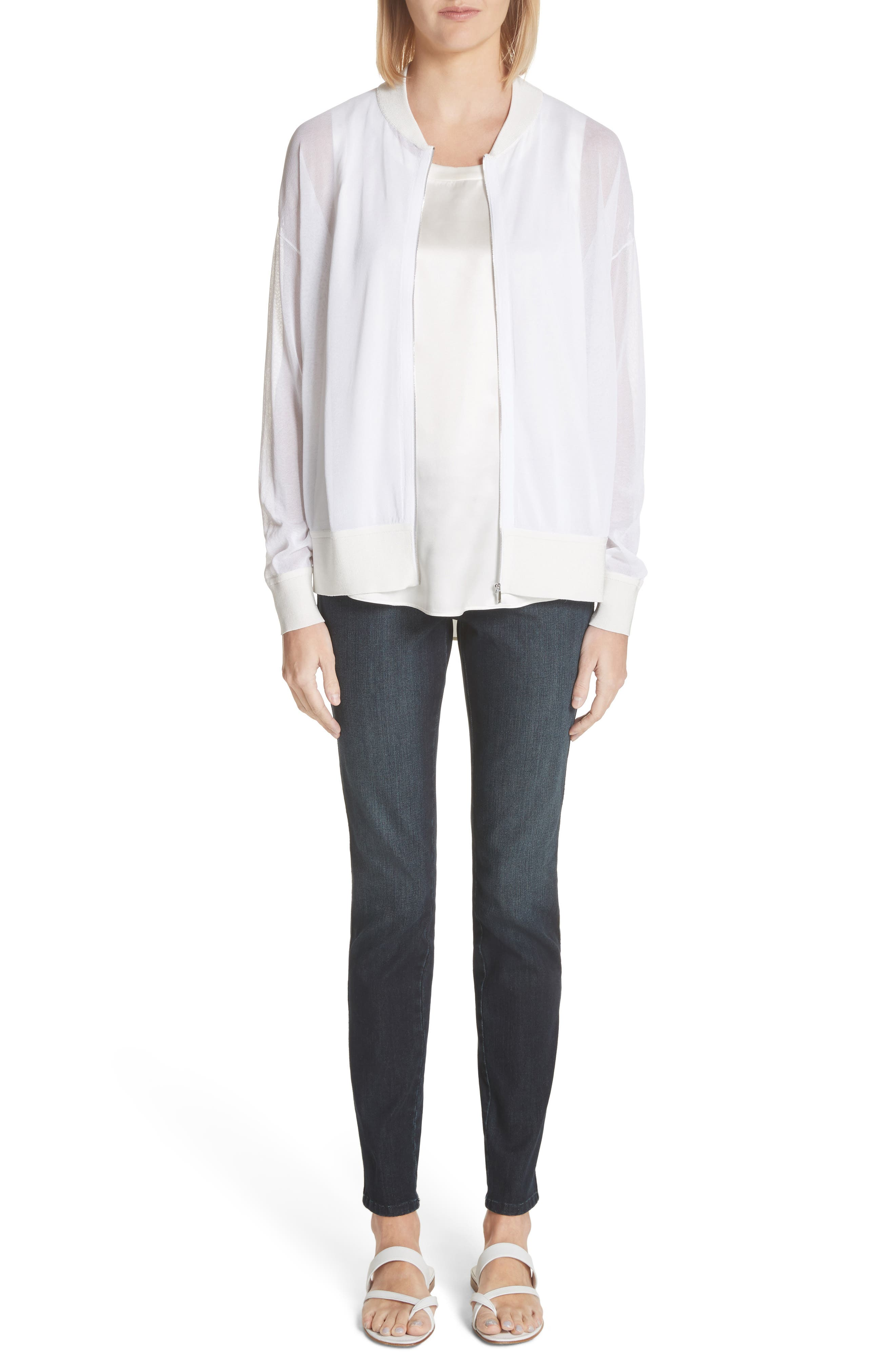 Ethereal Sheer Knit Bomber Jacket,                             Alternate thumbnail 9, color,                             White
