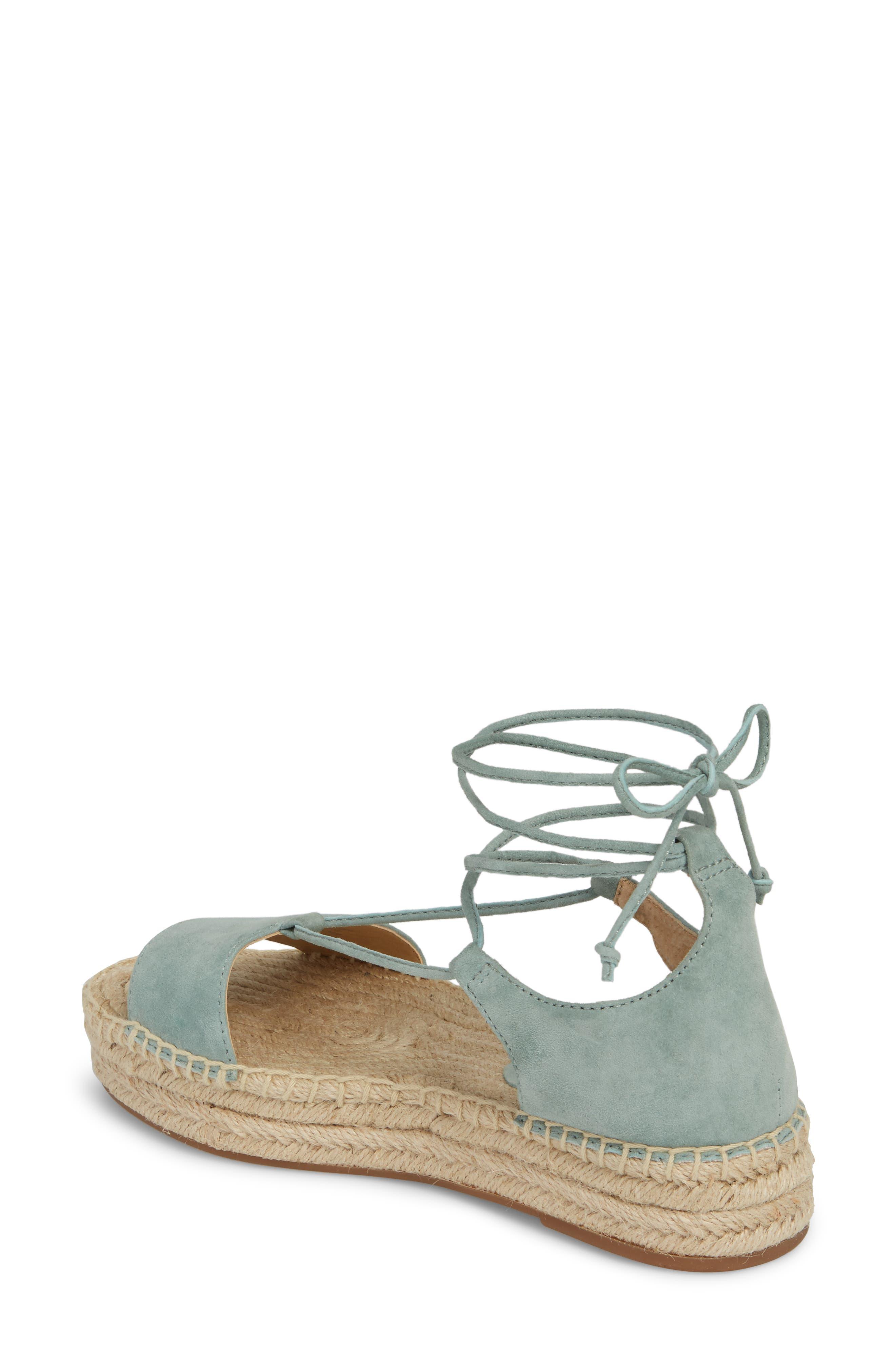 Fernanda Wraparound Platform Sandal,                             Alternate thumbnail 2, color,                             Deco Green Suede