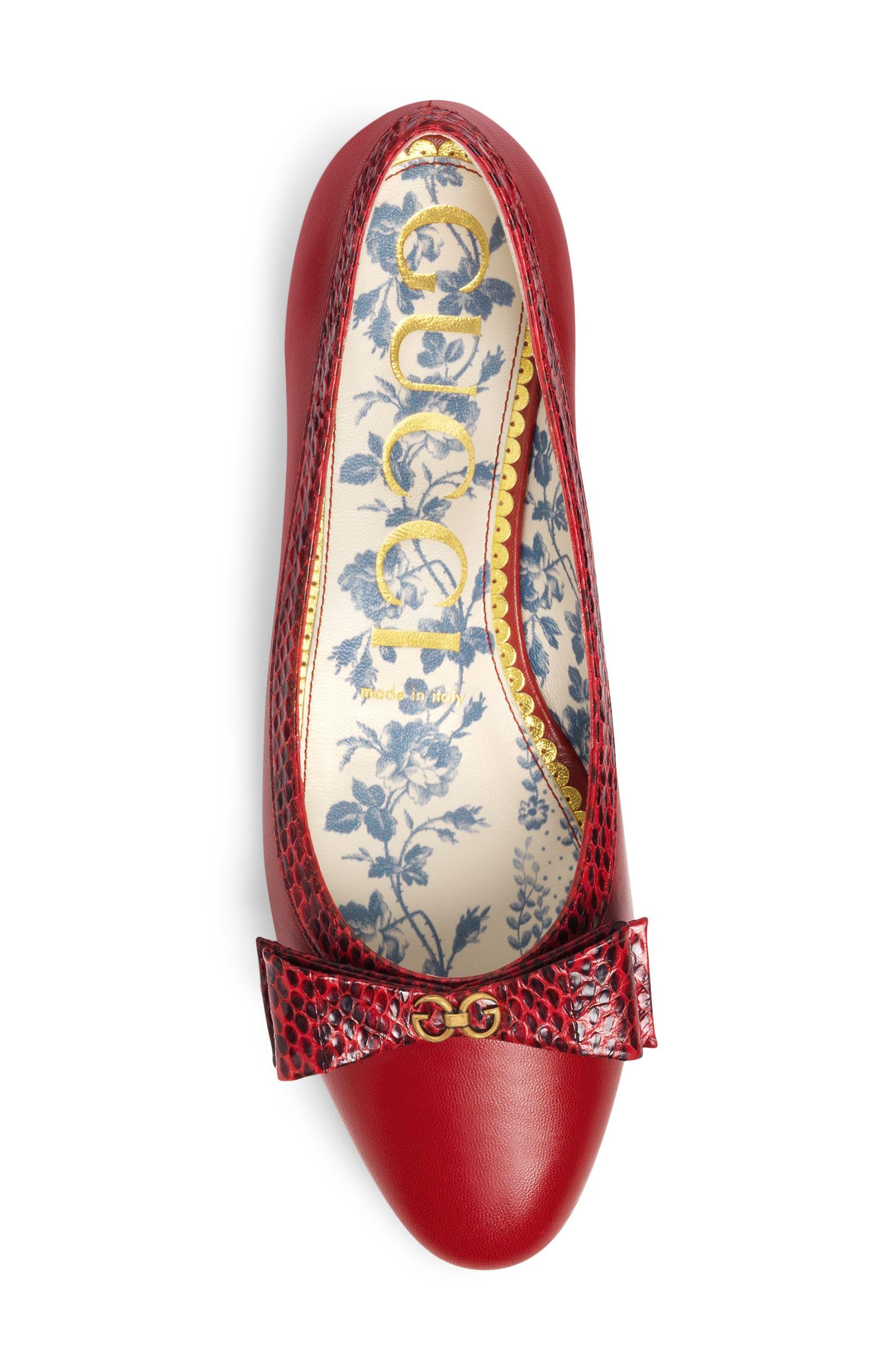 Genuine Snakeskin Trim Ballet Flat,                             Alternate thumbnail 4, color,                             Red