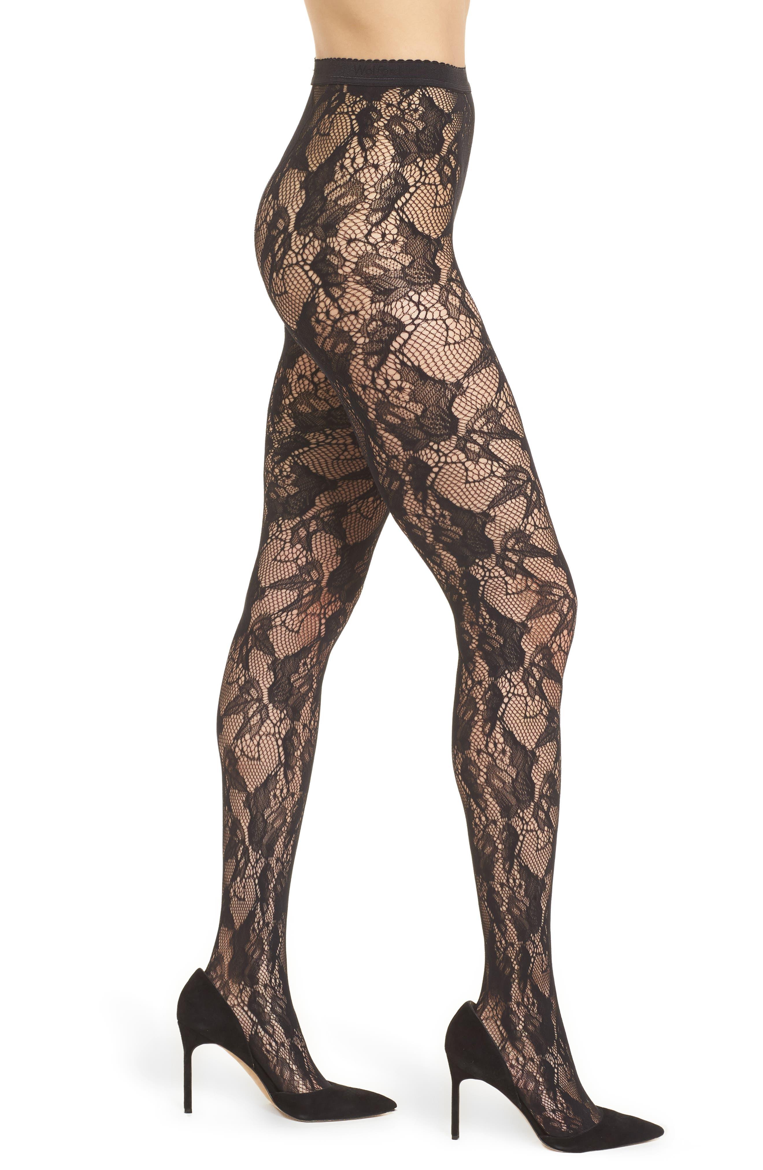 Louise Floral Fishnet Tights,                         Main,                         color, Black