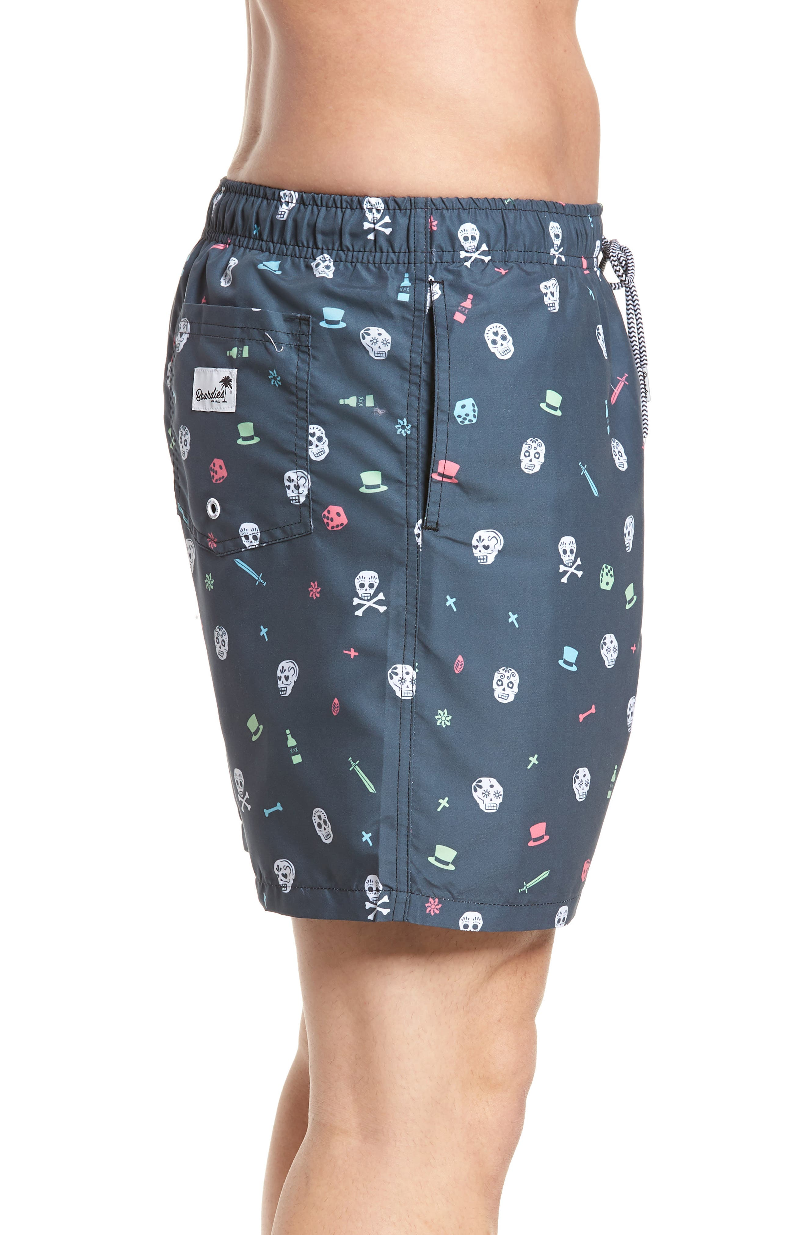 Day of the Dead Print Swim Shorts,                             Alternate thumbnail 3, color,                             Charcoal